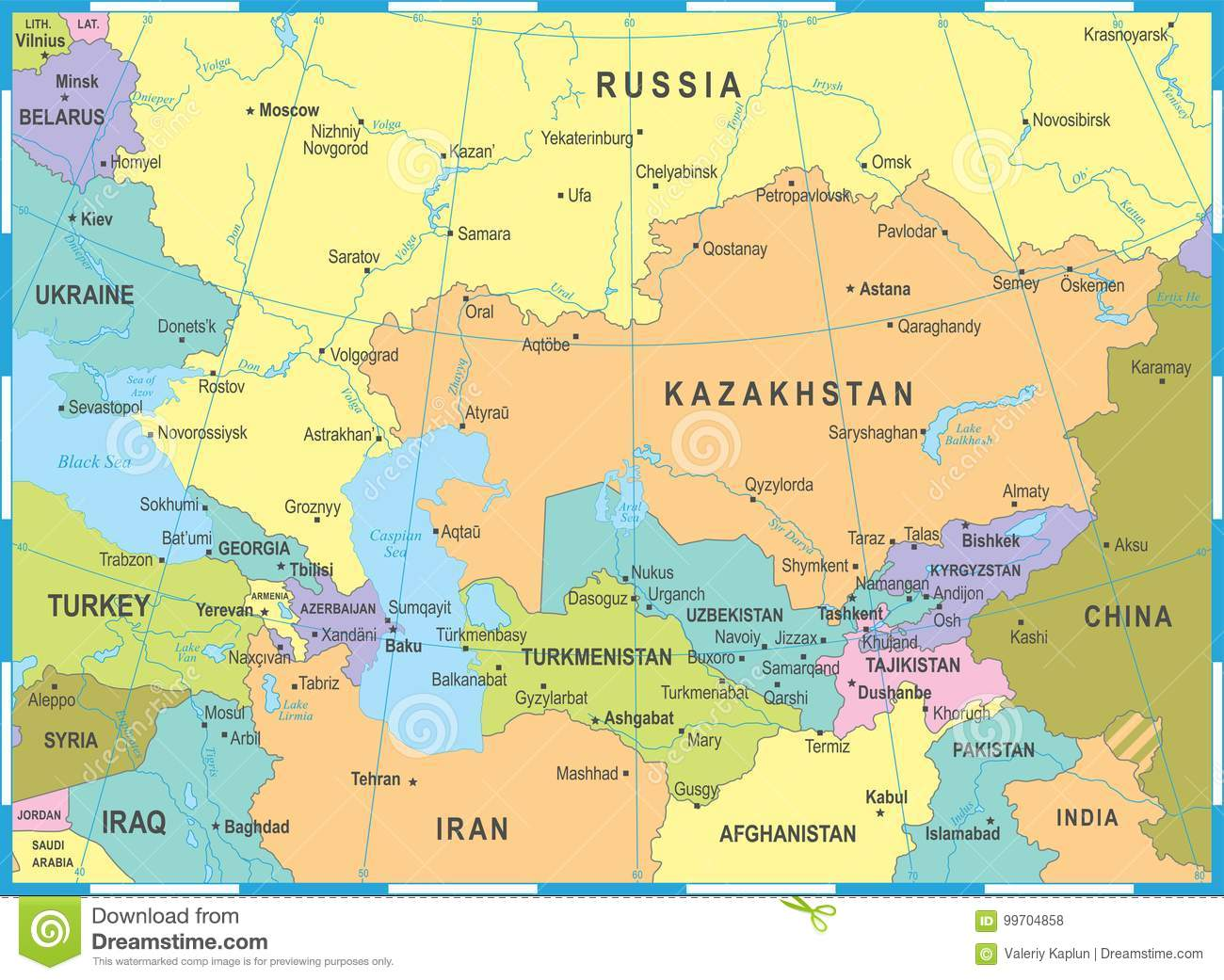 Caucasus And Central Asia Map - Vector Illustration Stock ... on
