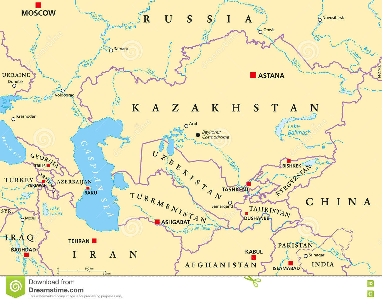 Caucasus And Central Asia Political Map Stock Photo Image - Central asia political map