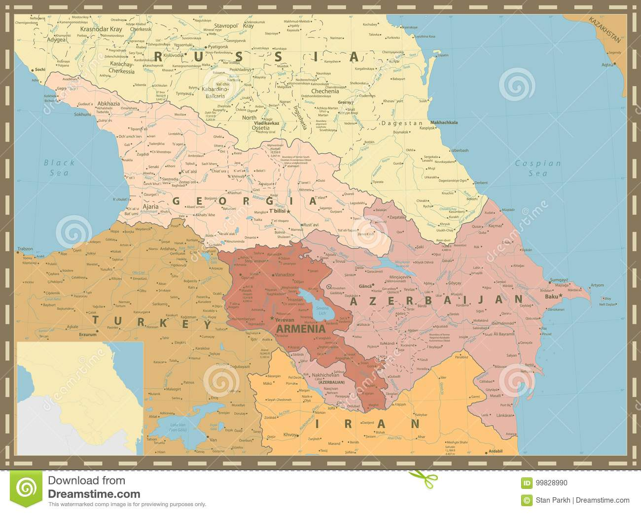 Caucasus Political Map Vintage Colors Stock Vector - Illustration of ...