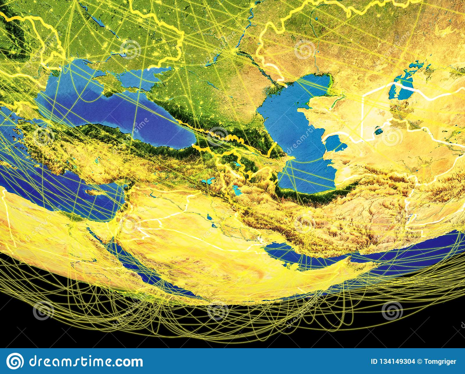 Caucasus Region From Space On Earth Stock Illustration