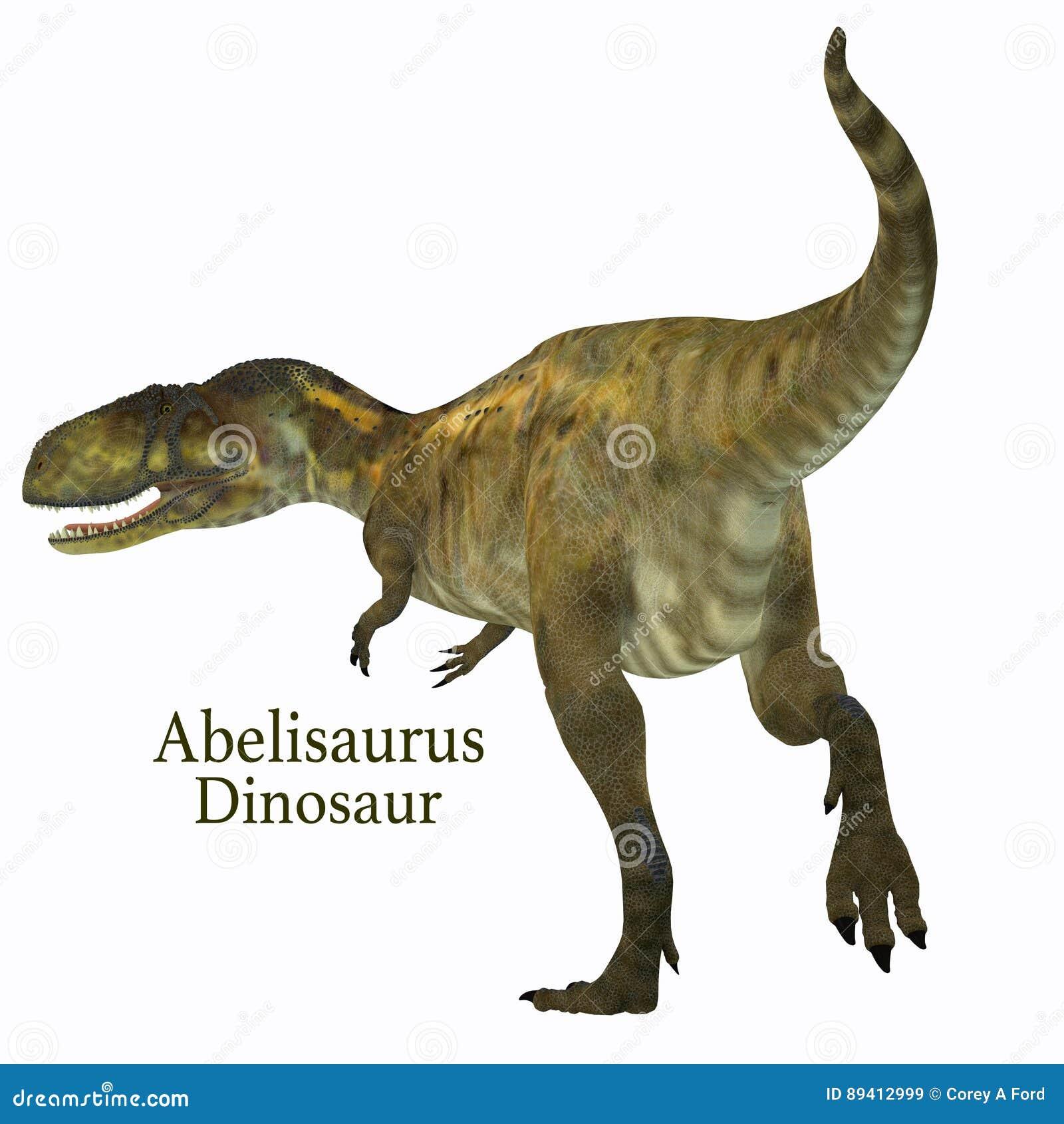 Cauda do dinossauro do Abelisaurus com fonte