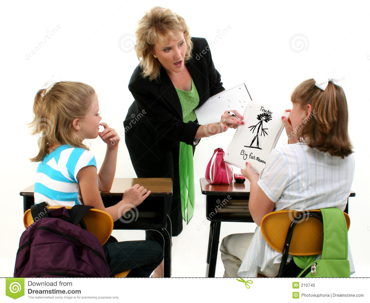 Caught By Teacher Stock Photo Image Of Girls Backpack