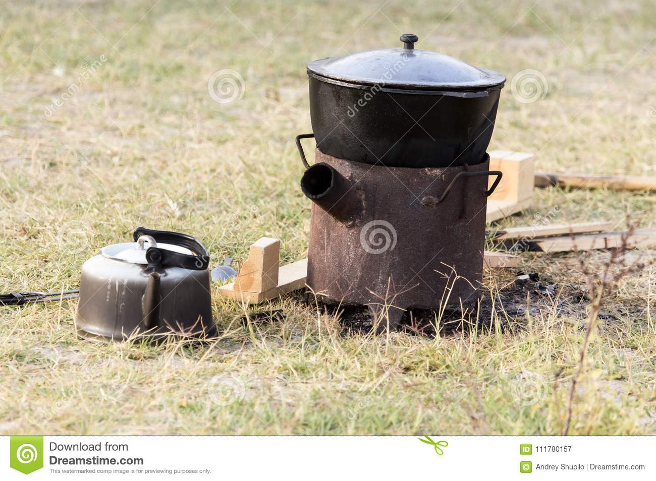 Cauldron of soup on the nature