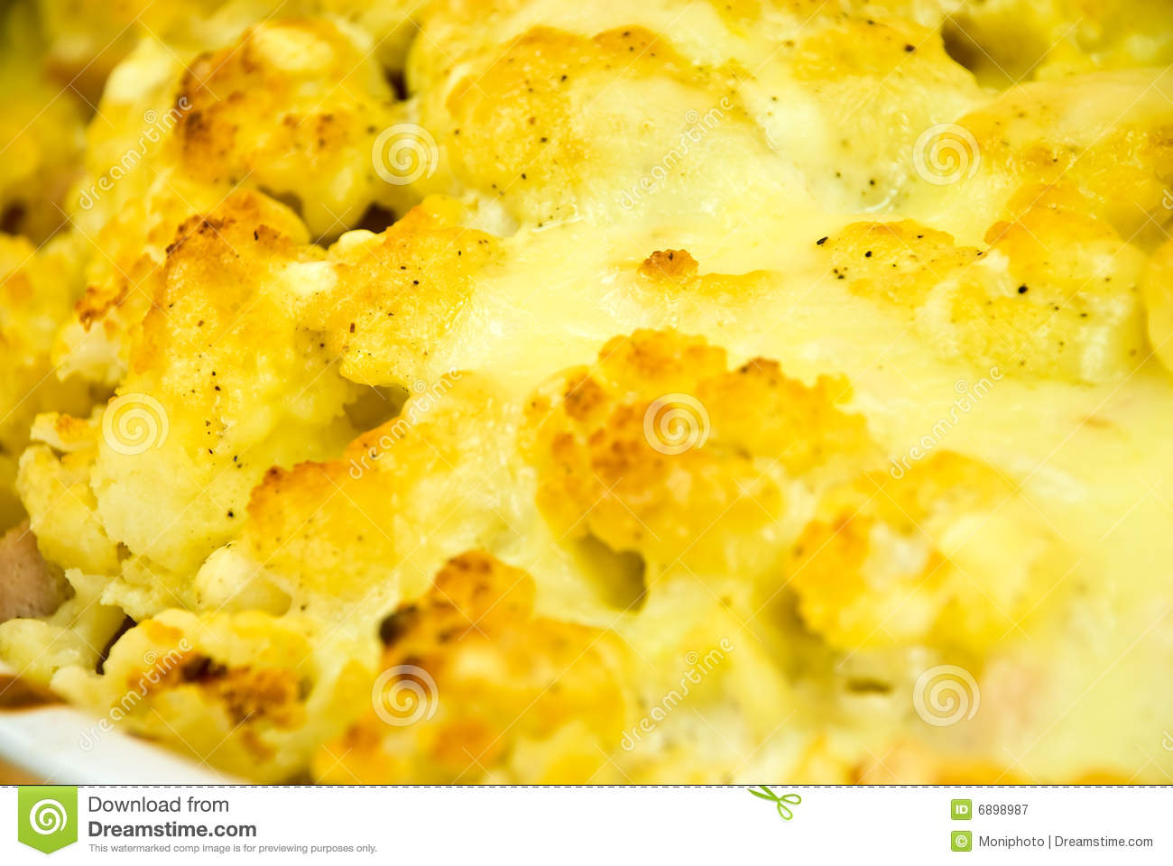 Cauliflower Au Gratin Casserole With Cheese Crus Royalty Free Stock ...