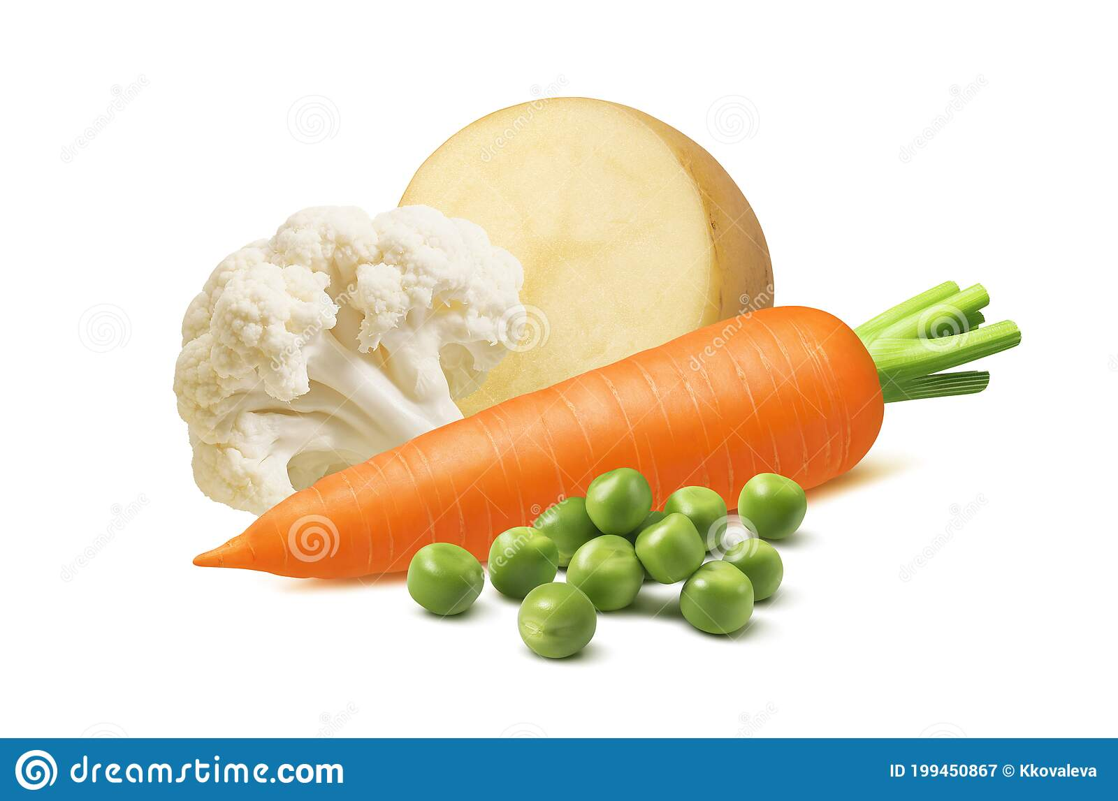 Cauliflower, Carrot, Potato and Green Peas Isolated on White ...