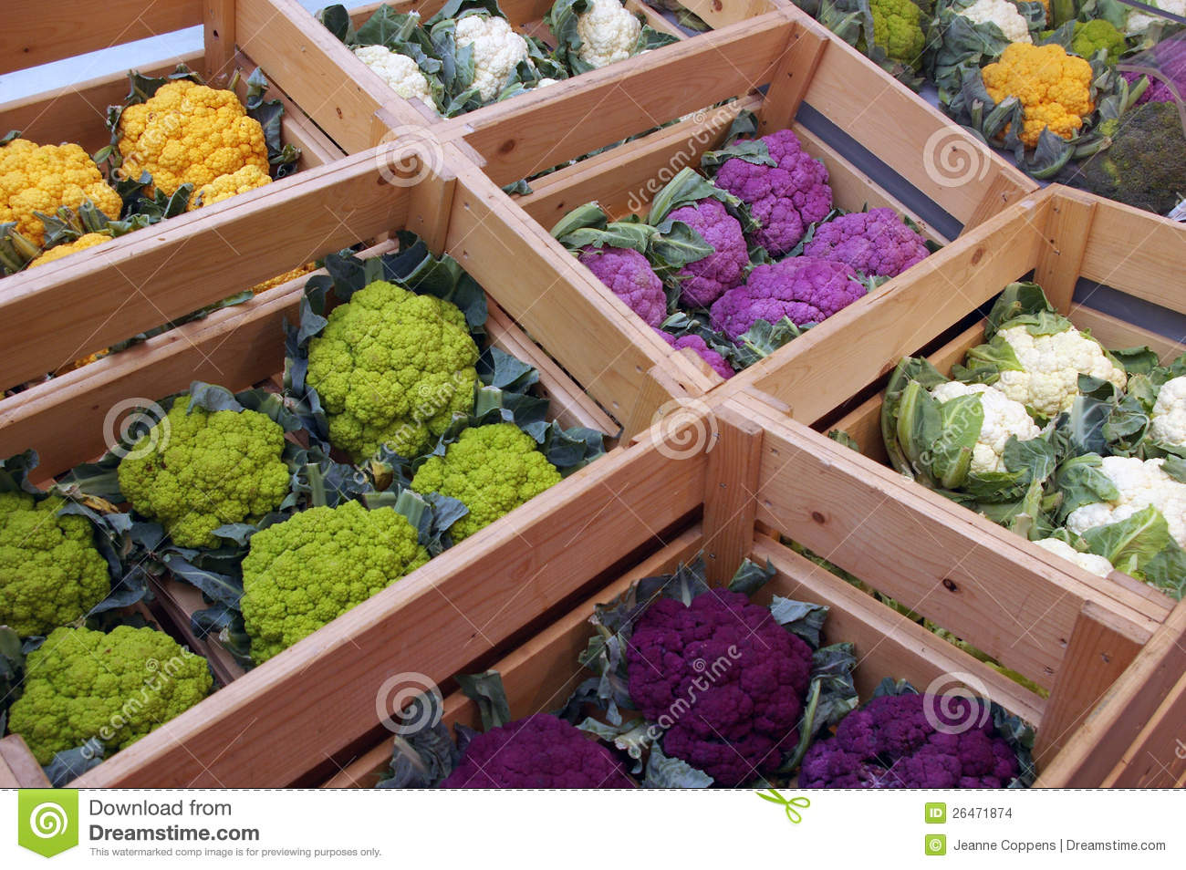 Cauliflowers of colors.