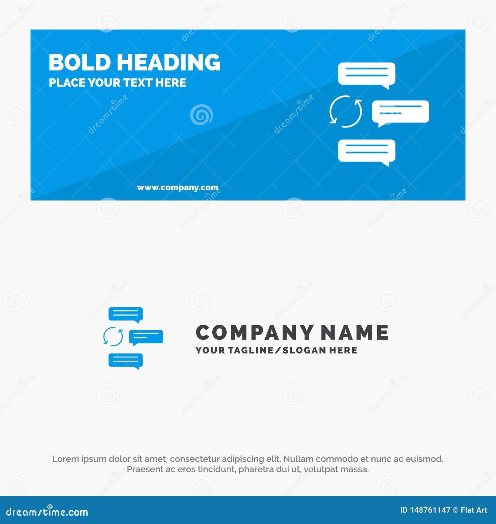 Causerie, causerie, conversation, dialogue, automobile, bannière solide et affaires Logo Template de site Web d icône de robot
