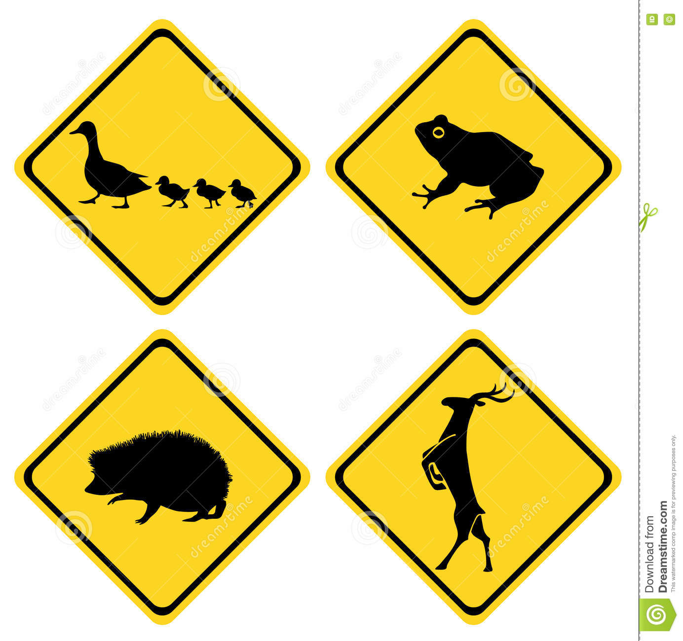 Caution Duck Sign Deer Hedgehog Frog Stock Illustration - Image ...