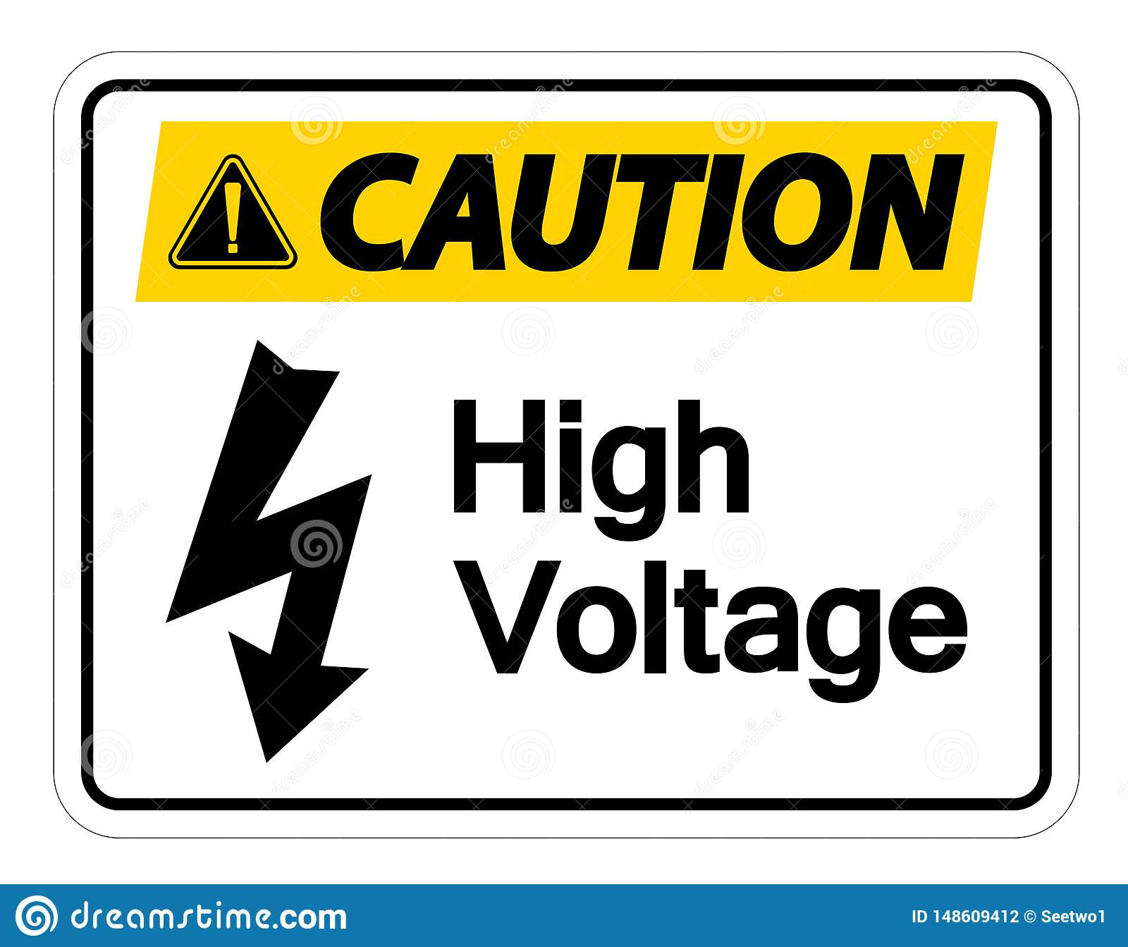 Caution High Voltage Sign On White Background Stock Vector