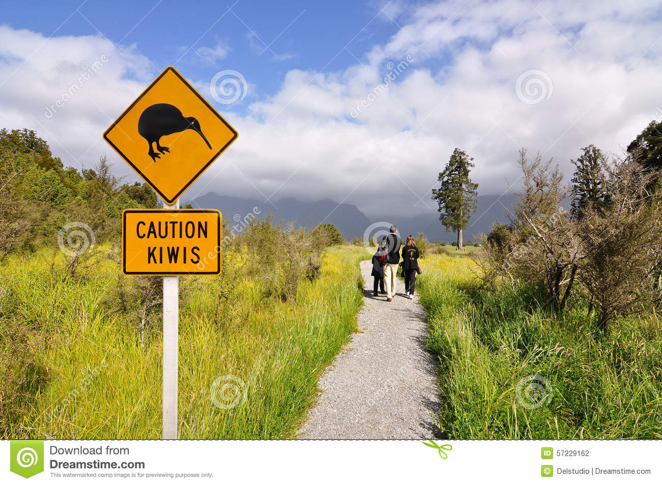 Caution kiwi panel on a trail
