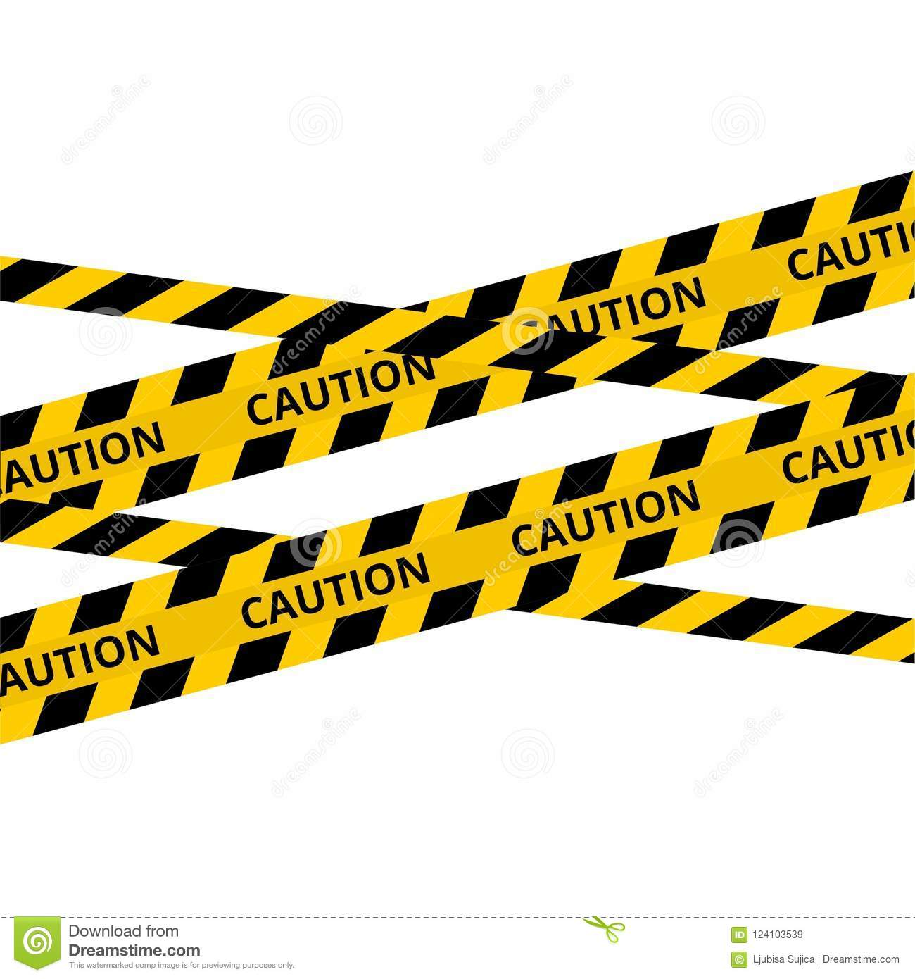 Caution Lines Isolated Warning Tapes Danger Signs Stock Vector