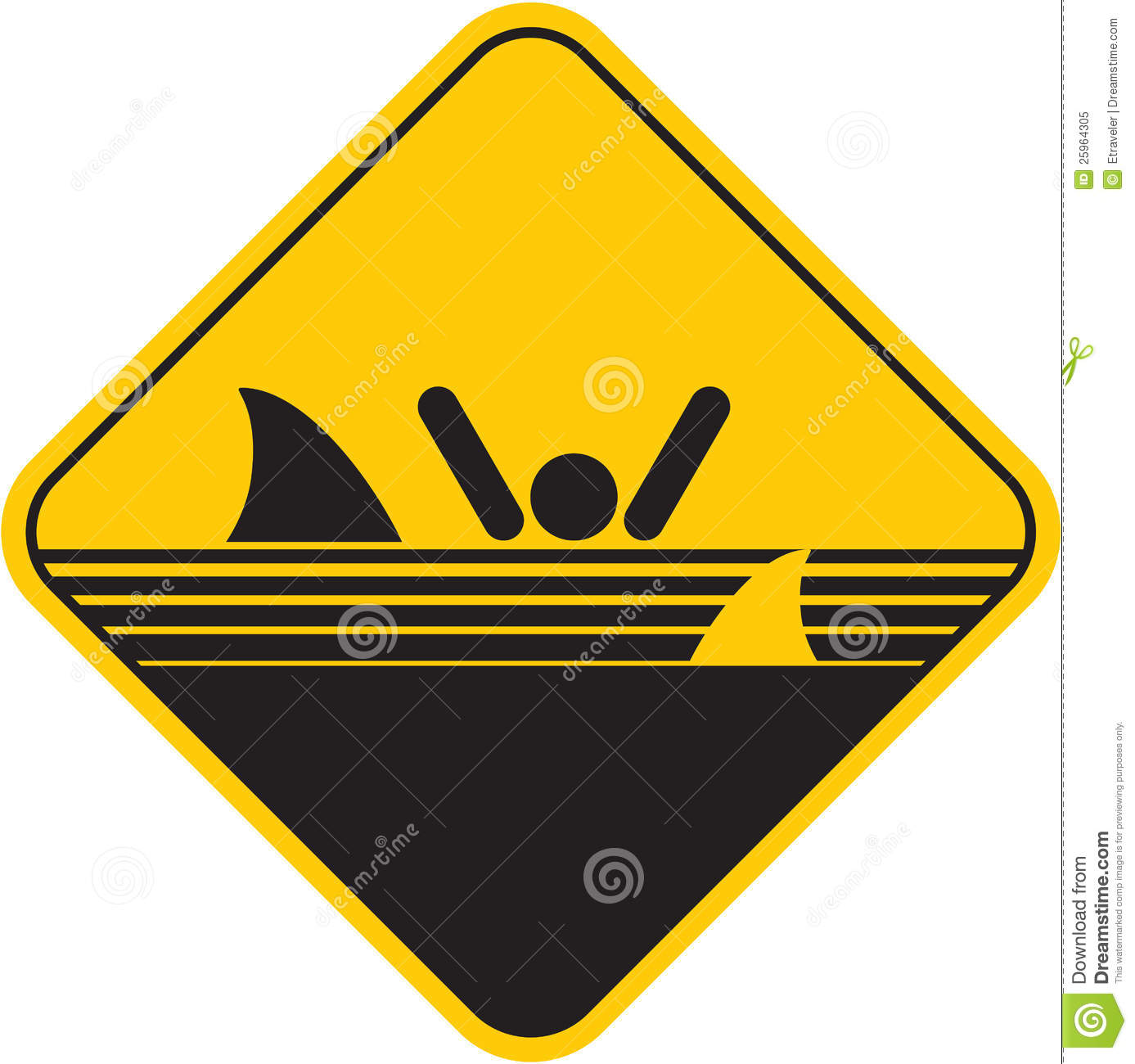 Caution sharks sign stock vector. Image of banner, shark ...