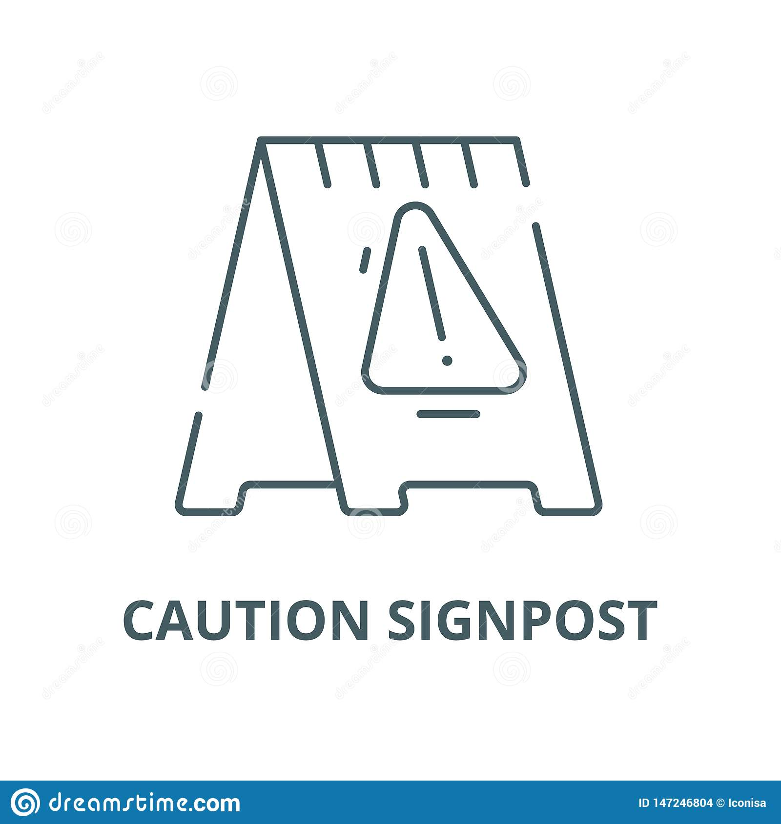 Caution signpost vector line icon, linear concept, outline sign, symbol