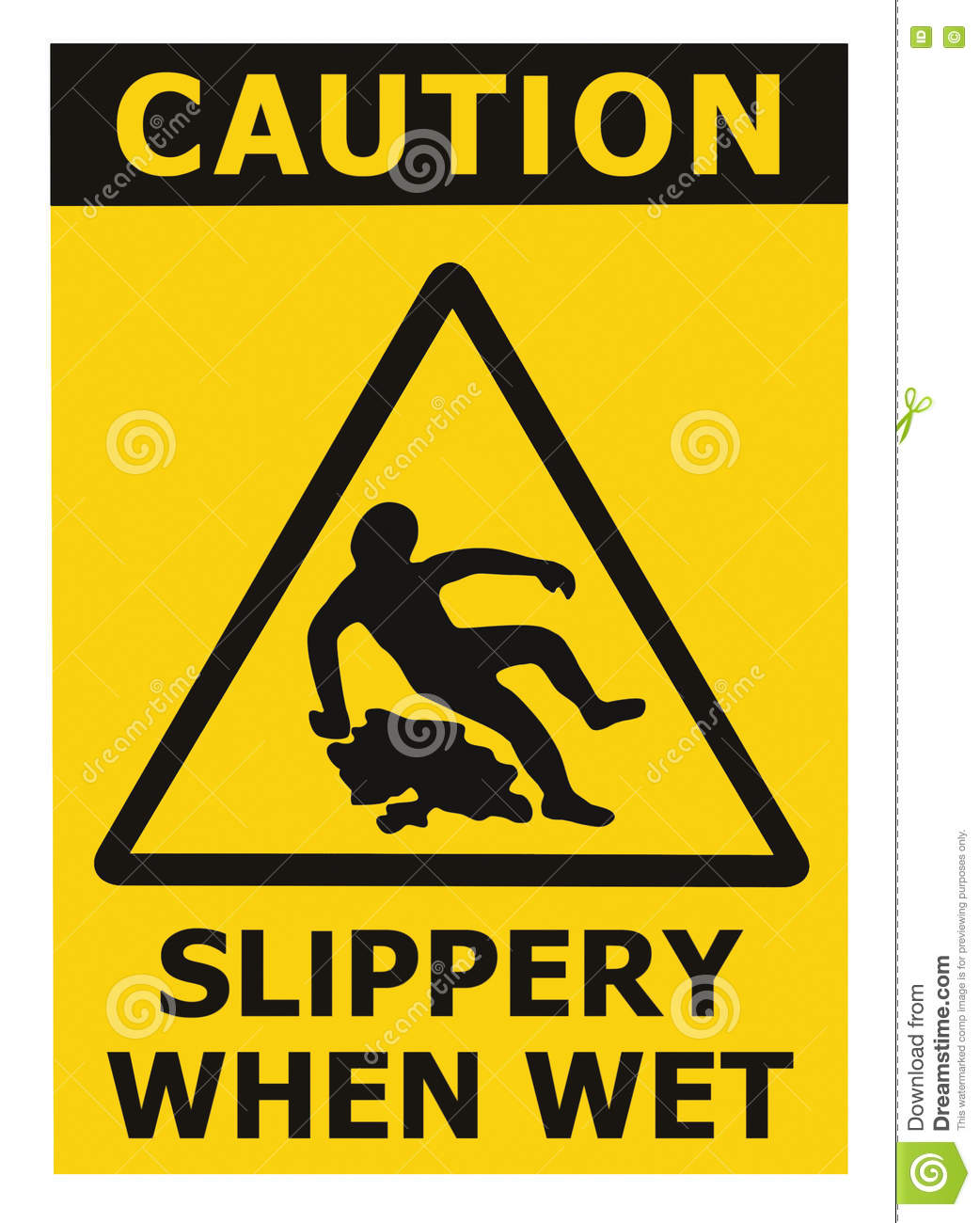 Caution Slippery When Wet Text Sign Black Yellow Isolated