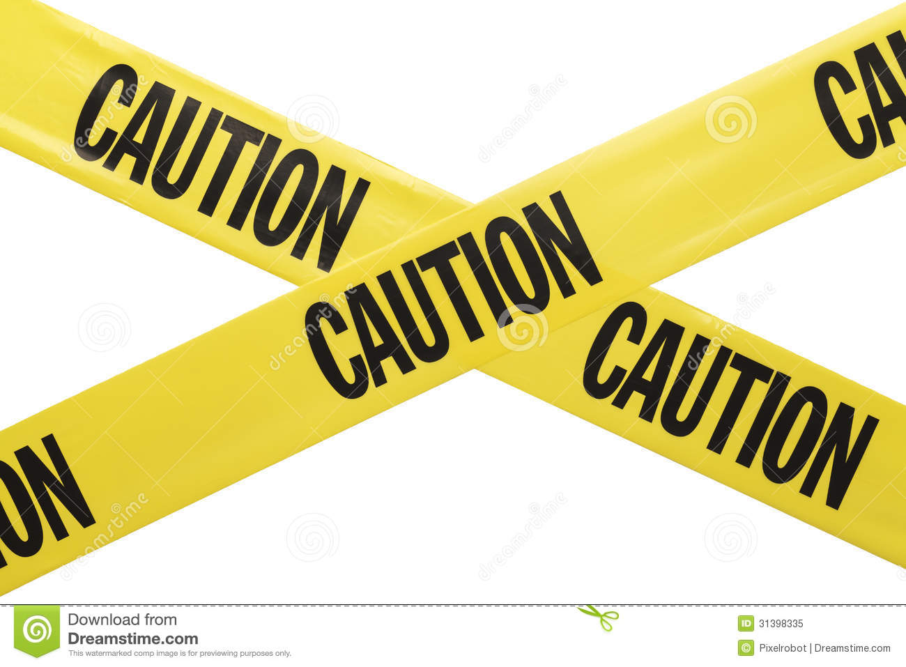 Yellow Plastic Caution Tape Criss Crossing Isolated on White ...