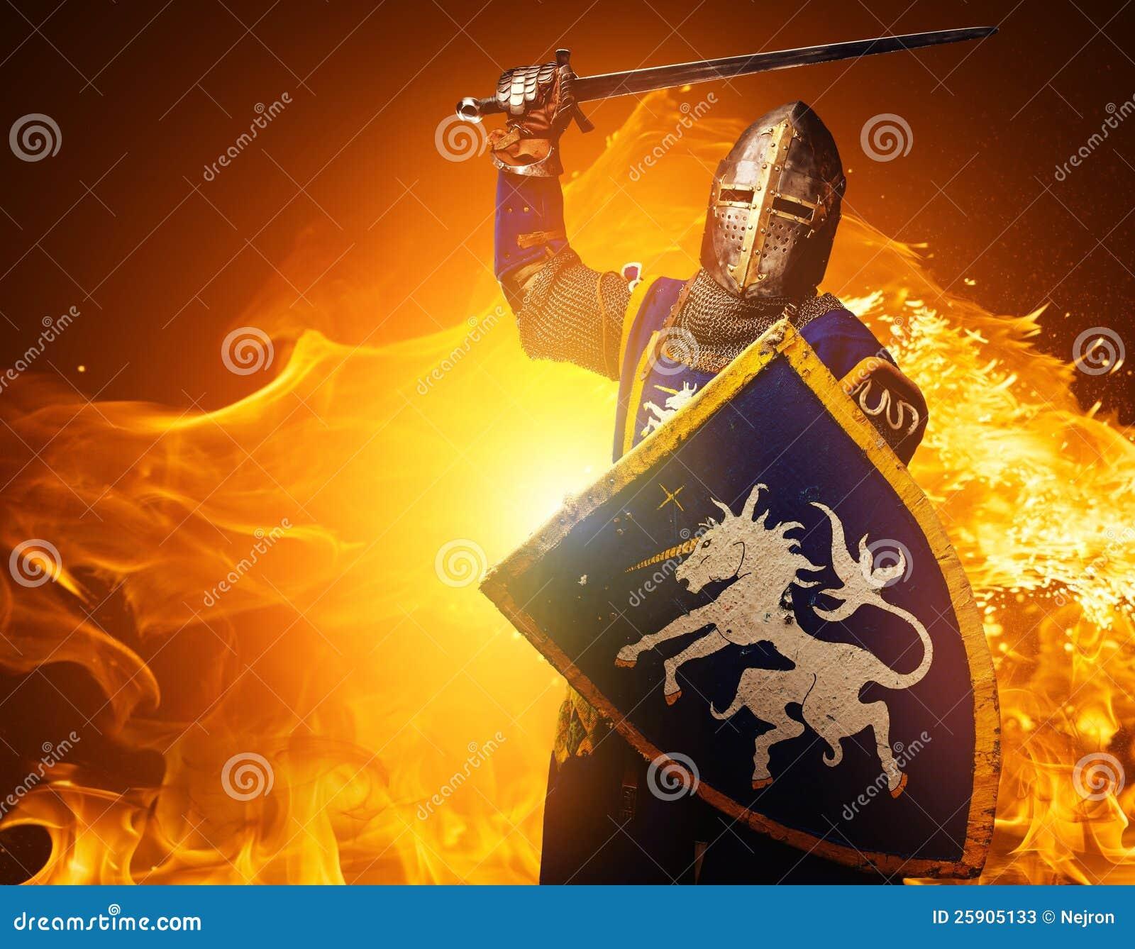 Cavaleiro medieval no fundo do incêndio