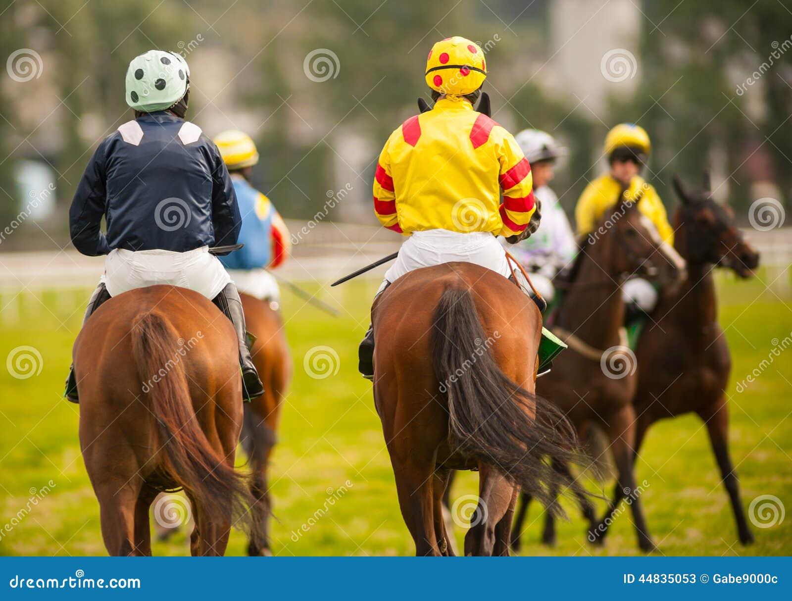Cavaleiros do cavalo no autódromo