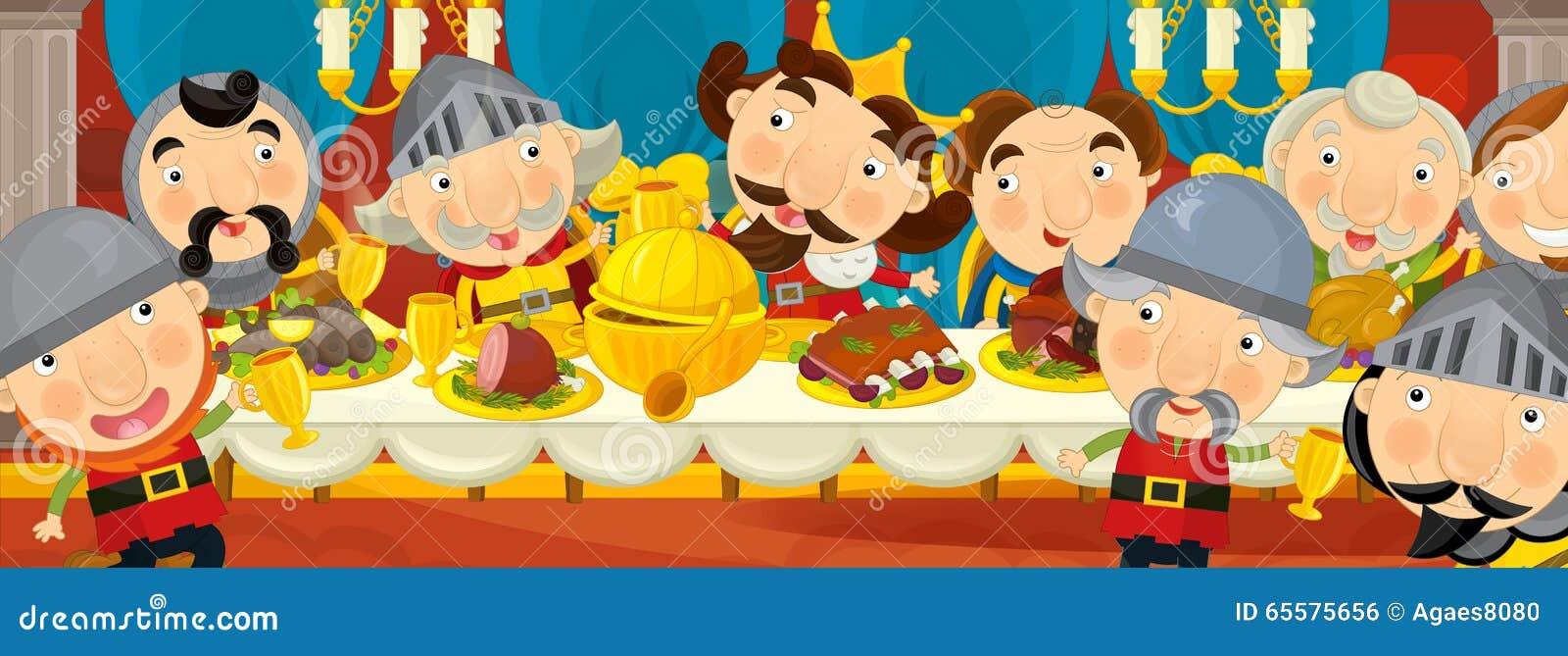 Cavaleiros medievais dos desenhos animados pela tabela - para contos de fadas diferentes