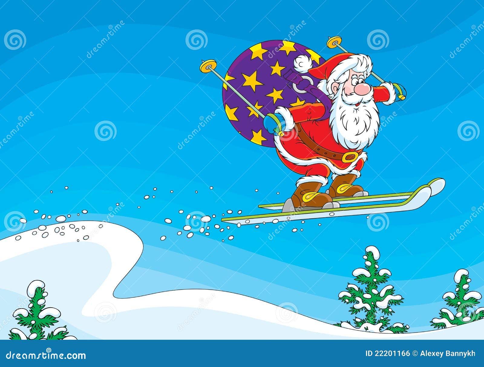 Image Pere Noel En Ski.Cavalier De Ski Du Pere Noel Illustration Stock