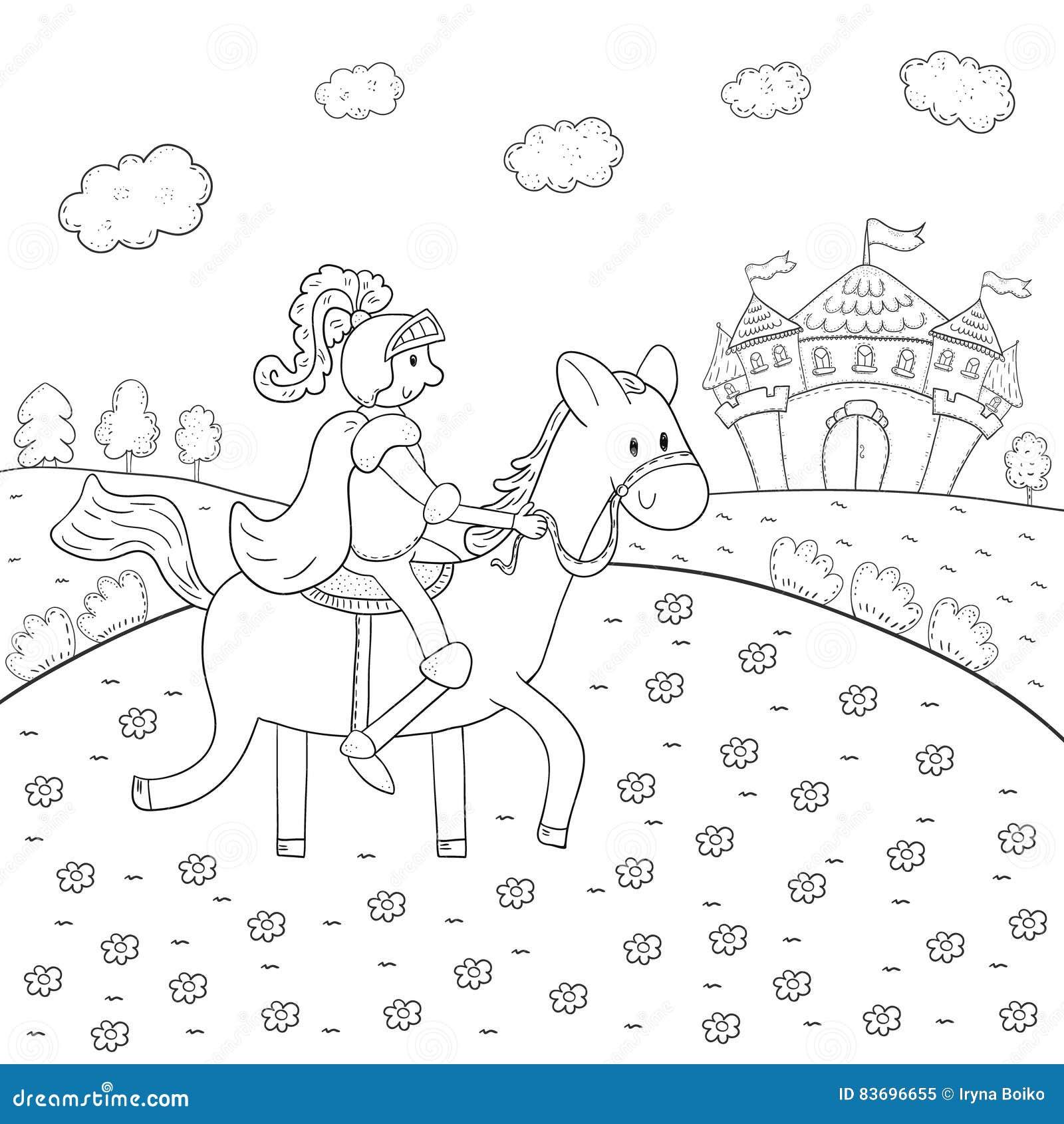Cavaliere Del Libro Da Colorare A Cavallo E Progettazione Magica