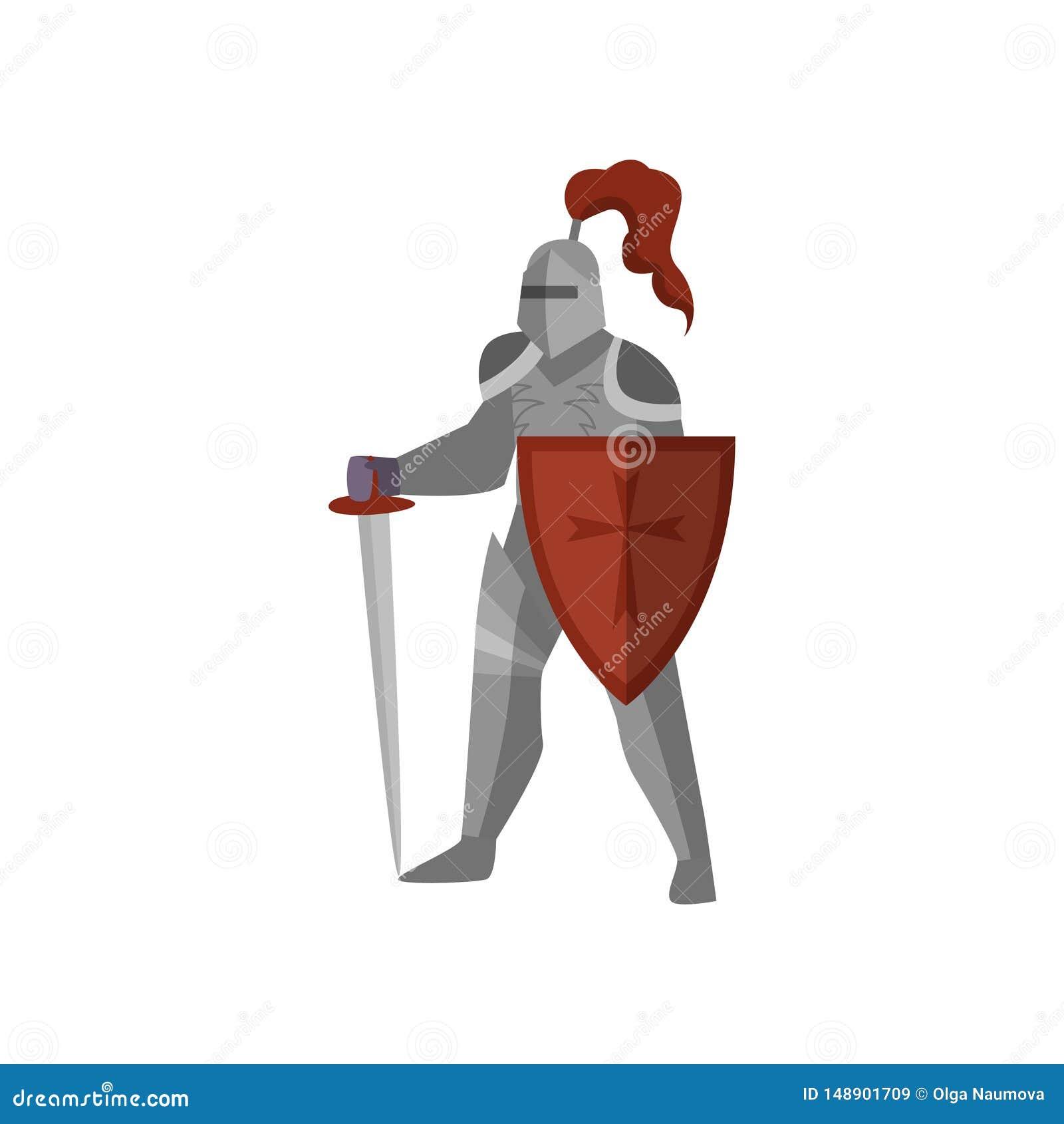 Cavaliere medievale con la spada e lo schermo lunghi della croce rossa