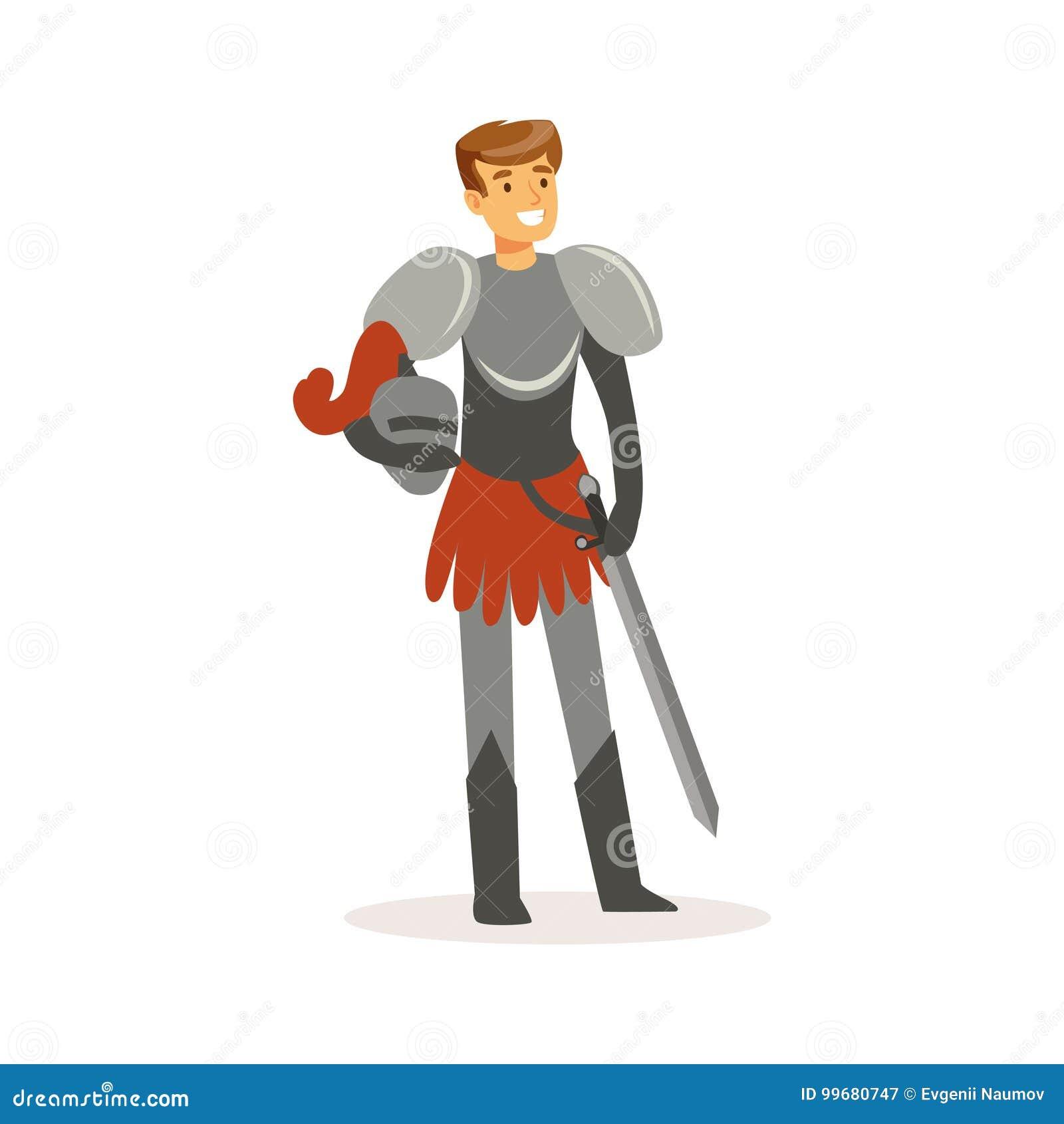 Cavaliere sorridente che sta con la spada, illustrazione variopinta di vettore del carattere medievale europeo