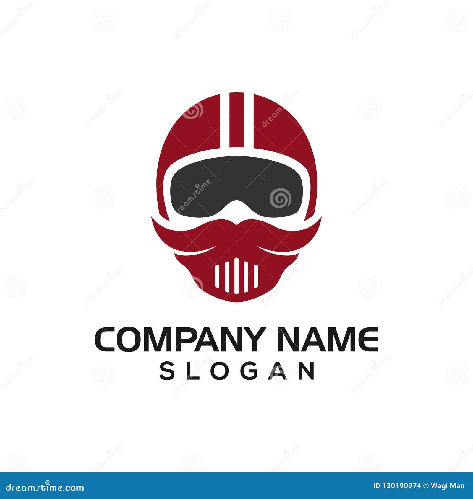 Cavalieri dei baffi, concetto di progetto del casco dei baffi per il driver del modello dell icona di logo, logos automobilistico