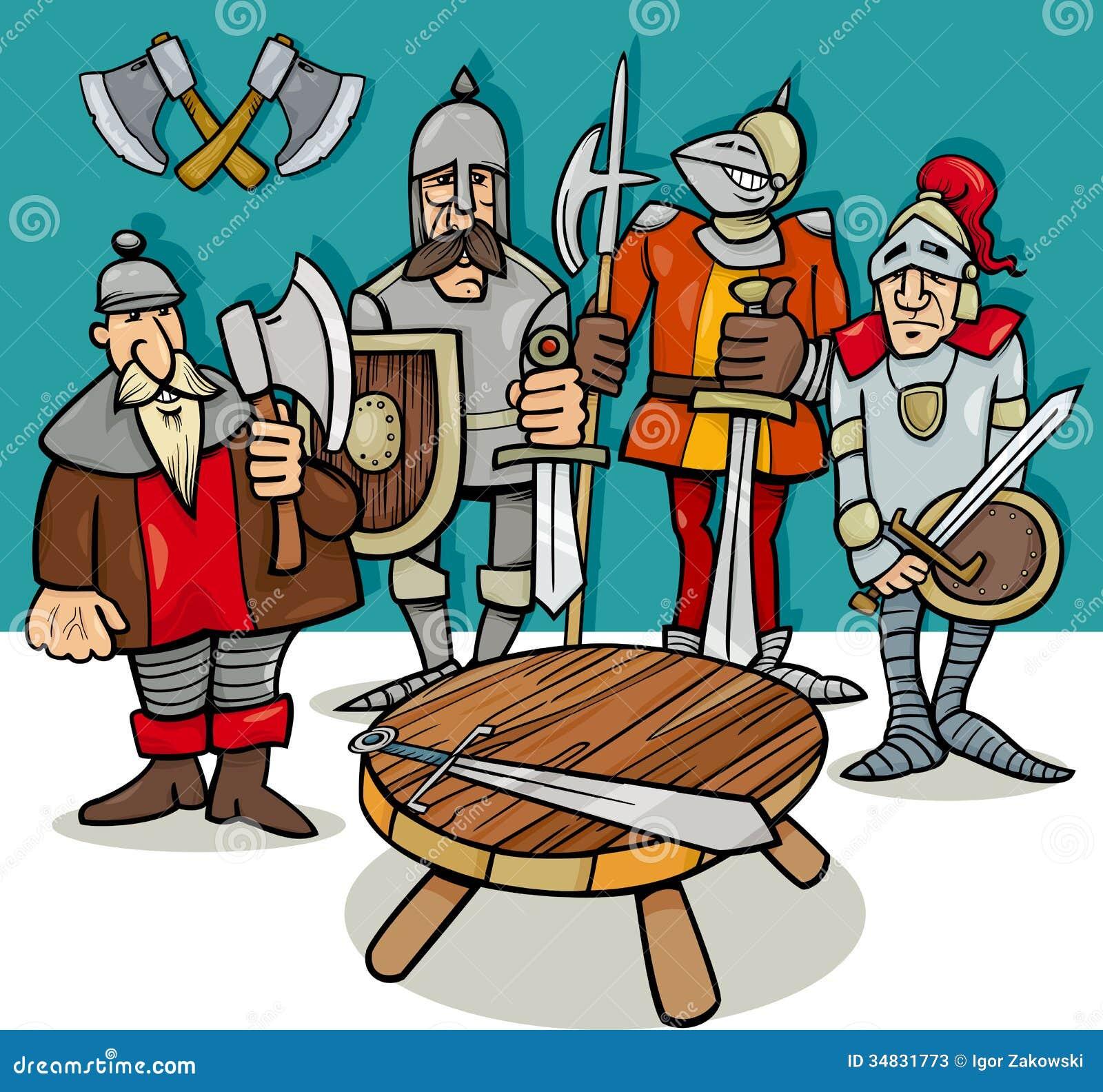 Cavalieri del fumetto della tavola rotonda illustrazione - Cavalieri della tavola rotonda ...