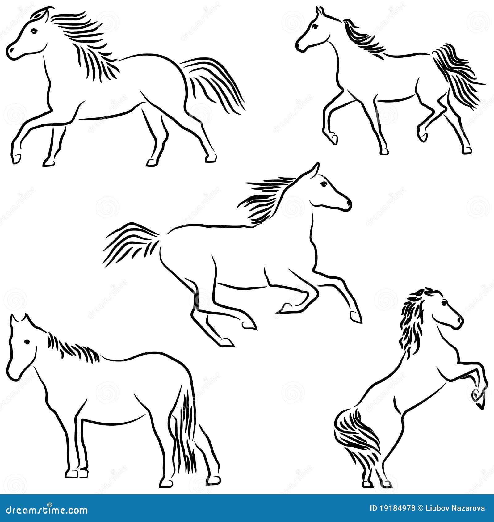 cavalli stilizzati tirati fotografie stock libere da