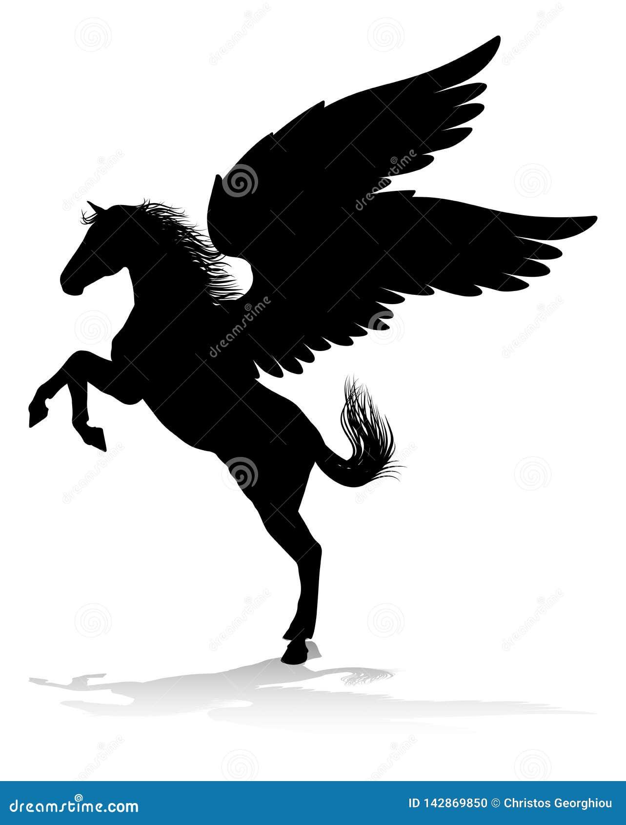 Pegaso Cavallo Alato Disegno.Cavallo Alato Mitologico Della Siluetta Di Pegaso