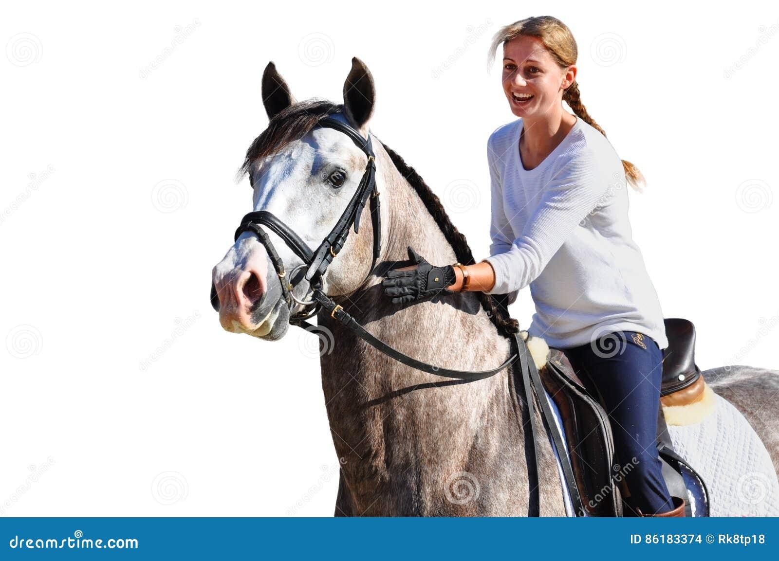 Cavallo da equitazione felice della ragazza su fondo bianco