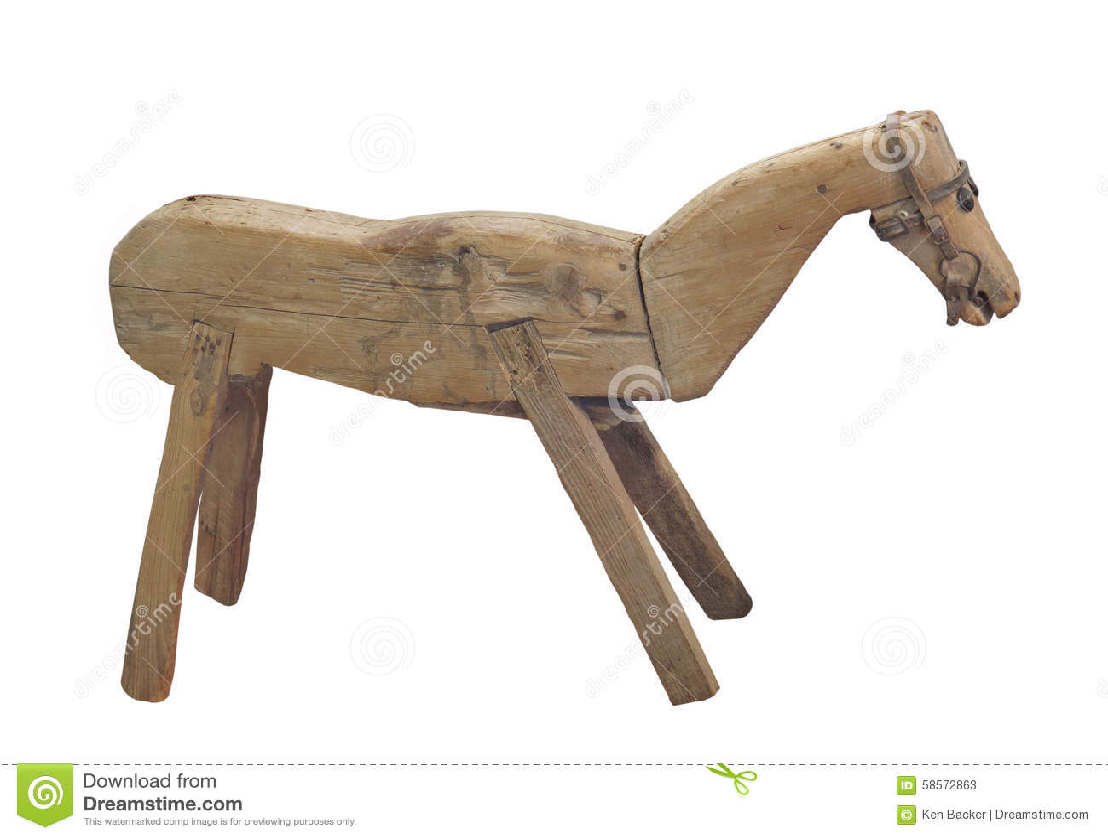 Cavallo Di Legno Giocattolo.Cavallo Di Legno Di Legno Rustico Isolato Immagine Stock Immagine