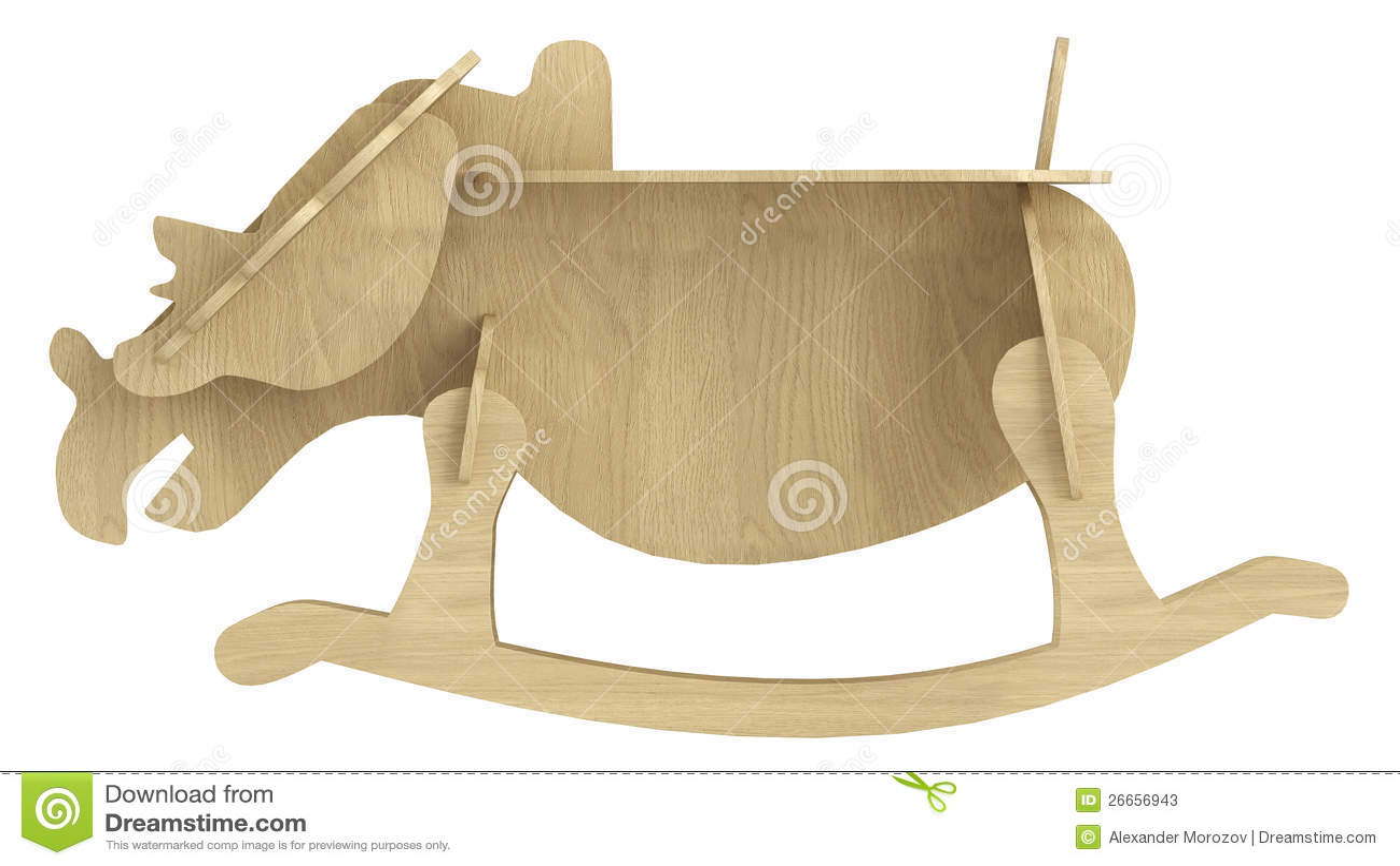 Cavallo di oscillazione di legno stilizzato illustrazione for Cavallo stilizzato
