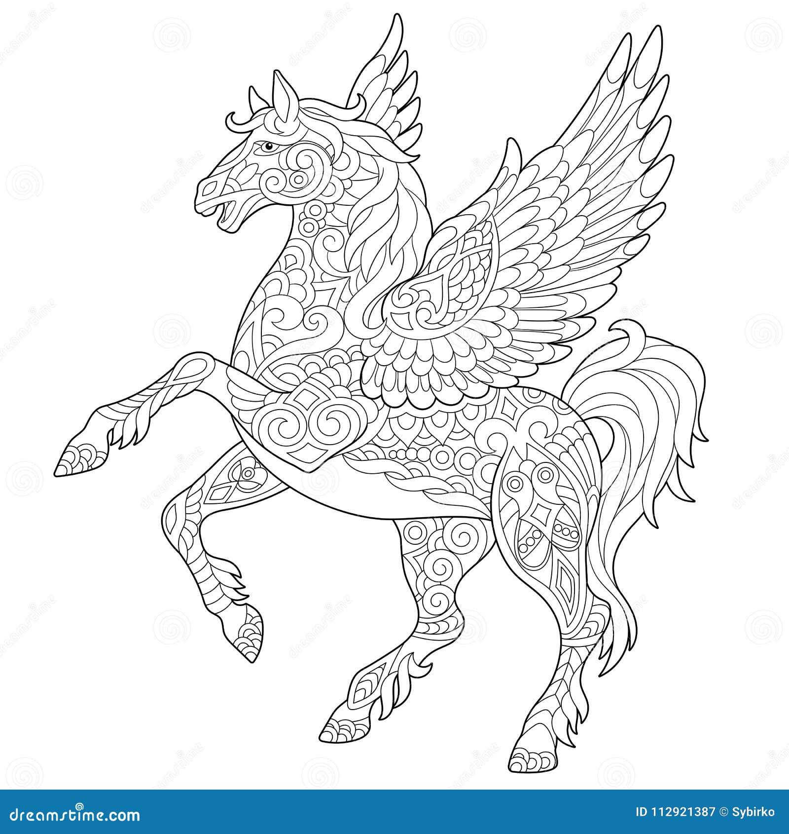 Cavallo Di Zentangle Pegaso Illustrazione Vettoriale