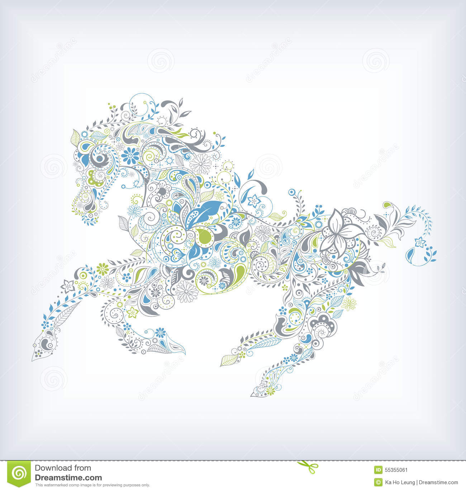 Cavallo floreale astratto