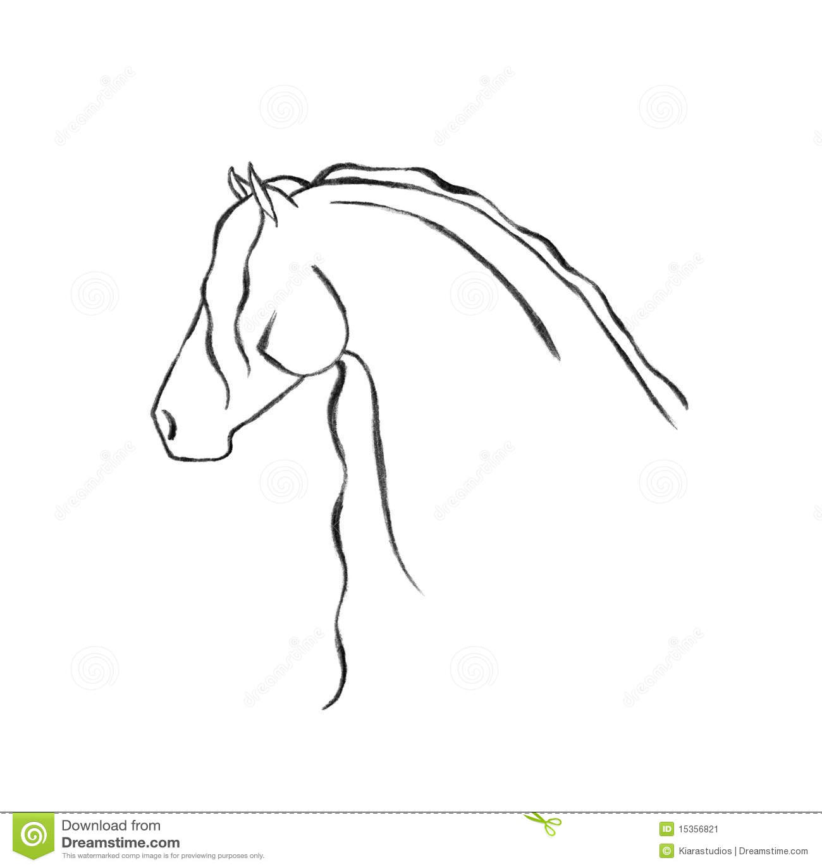 Cavallo Frisone Disegnato A Mano Stilizzato Illustrazione