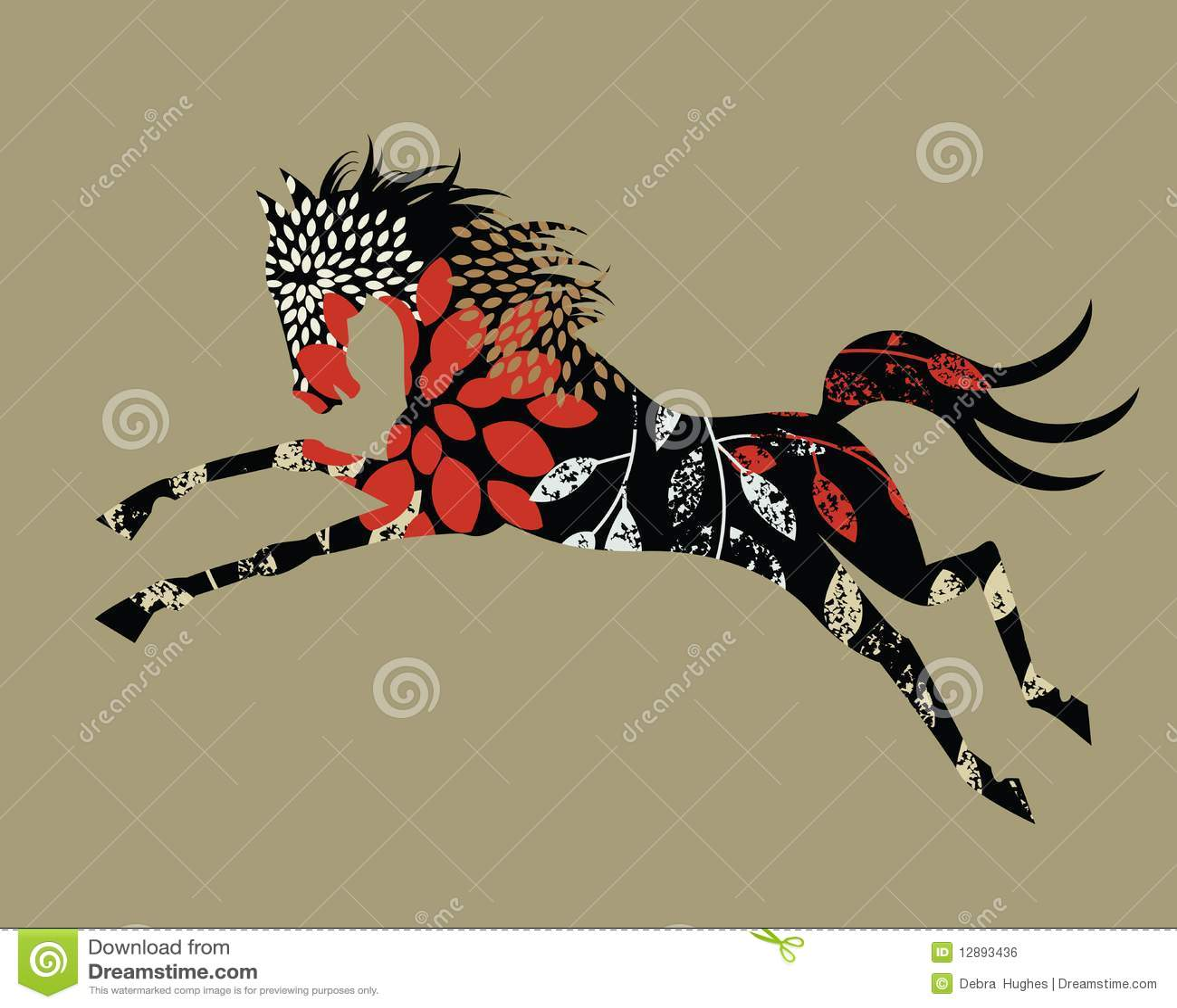 Cavallo Selvaggio Stilizzato Illustrazione Vettoriale