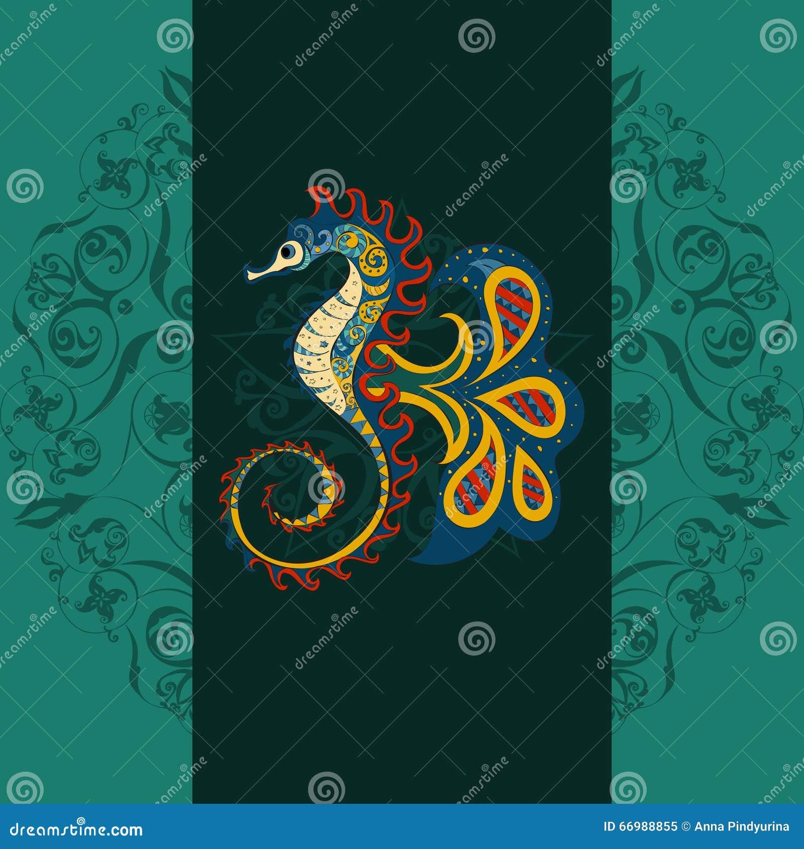 Cavalluccio marino ornamentale disegnato a mano fondo for Cavalluccio marino maori