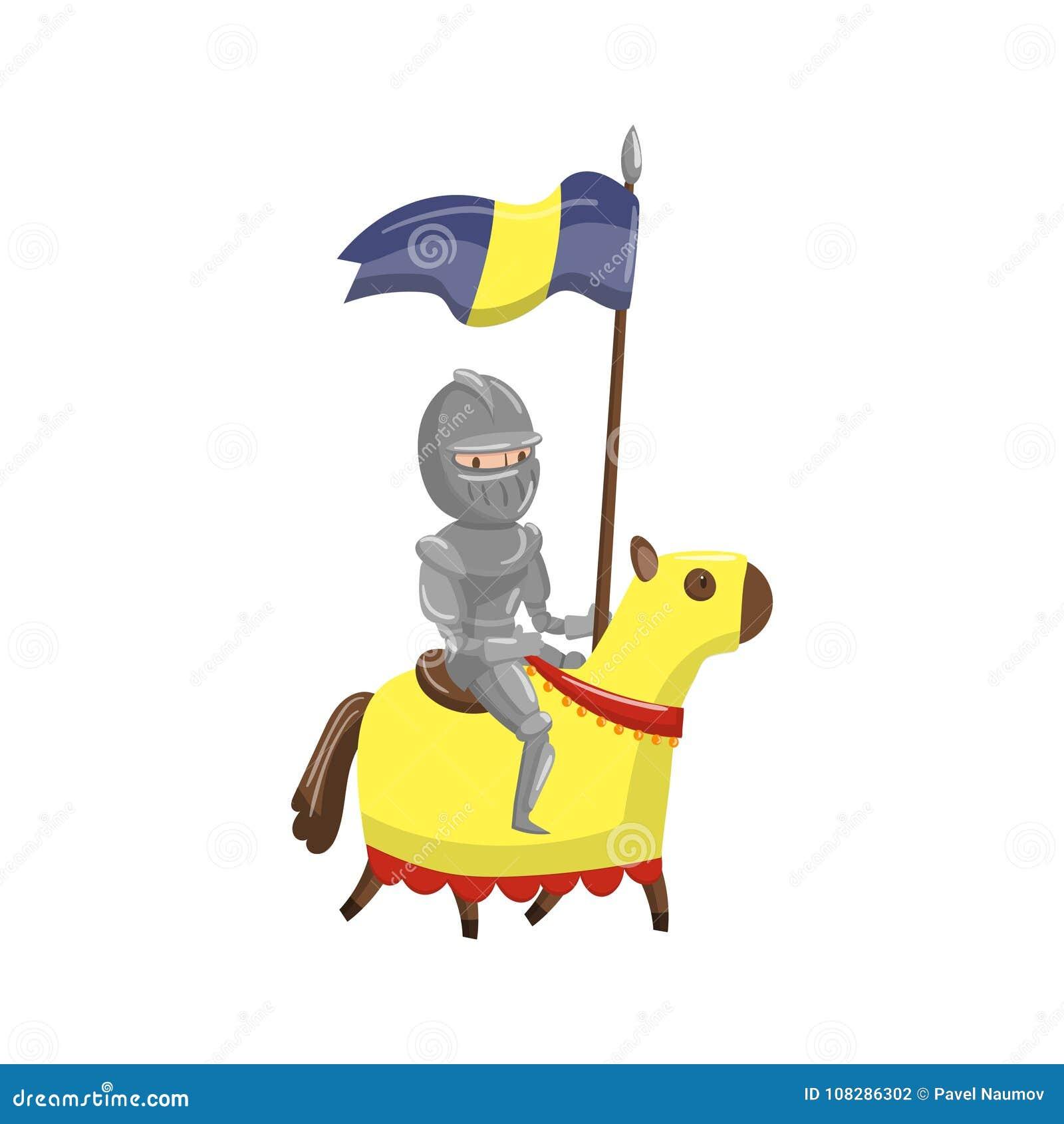 Cavalo de equitação armado do cavaleiro, conto de fadas ou ilustração medieval do vetor dos desenhos animados do caráter