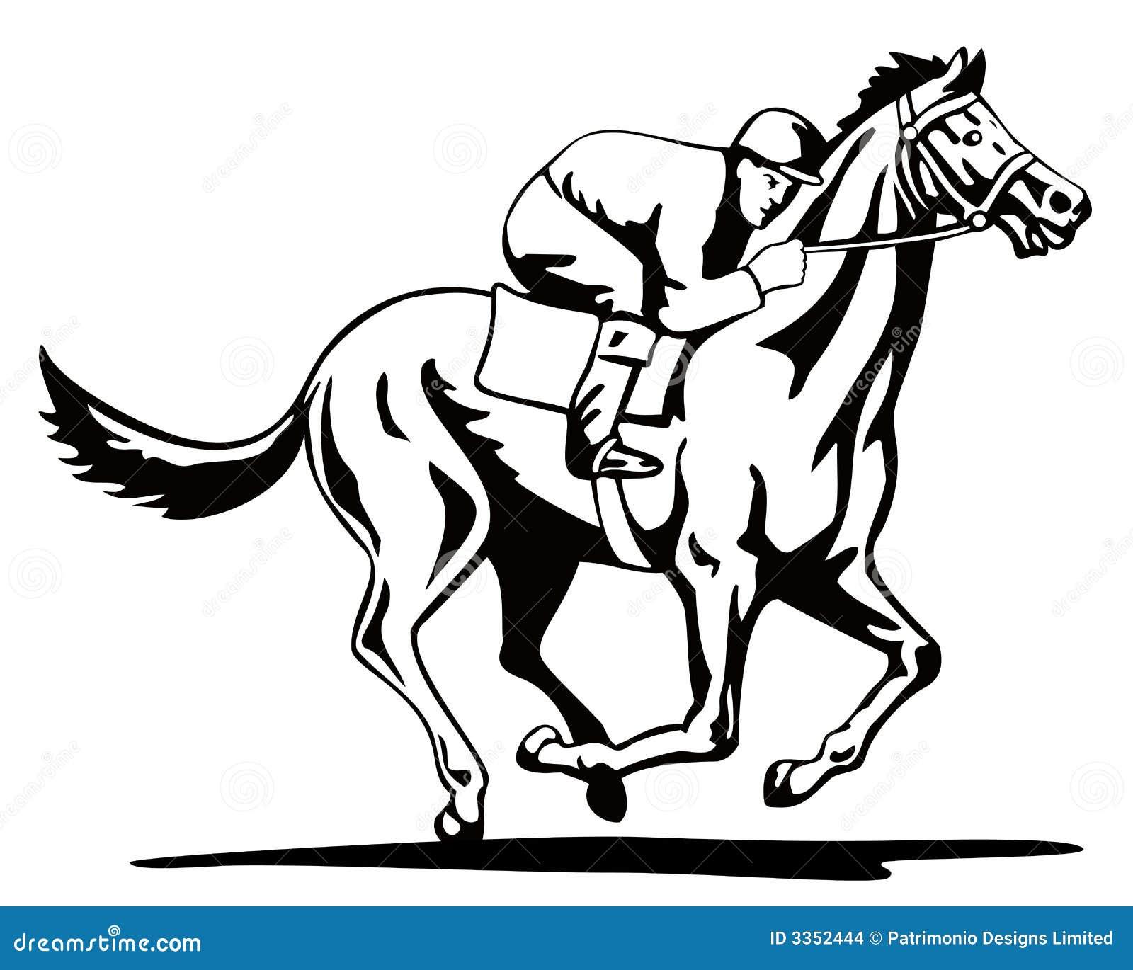 Cavalo e jóquei em um vencimento