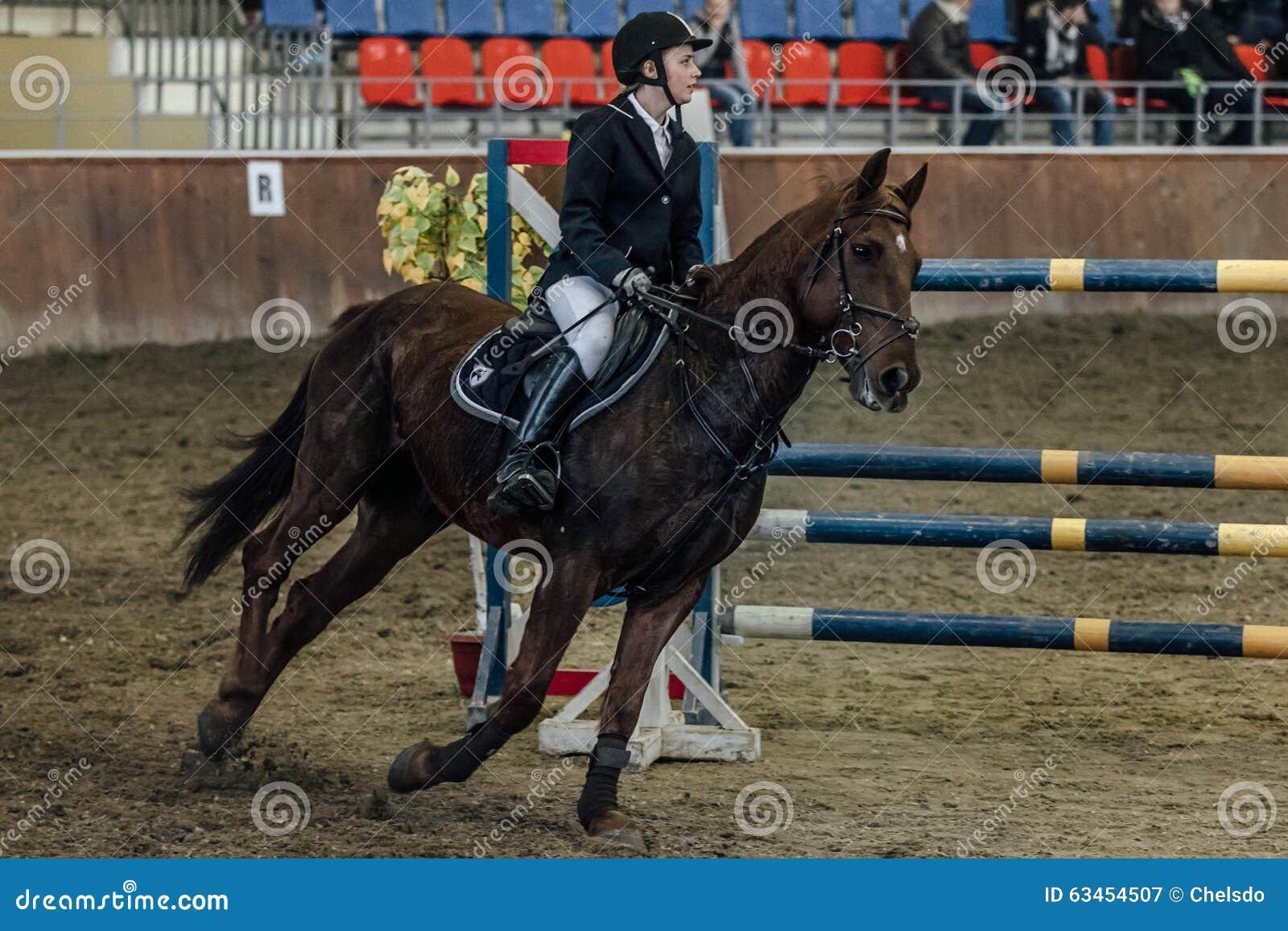 Cavalo novo do atleta fêmea que galopa através dos esportes de campo complexos