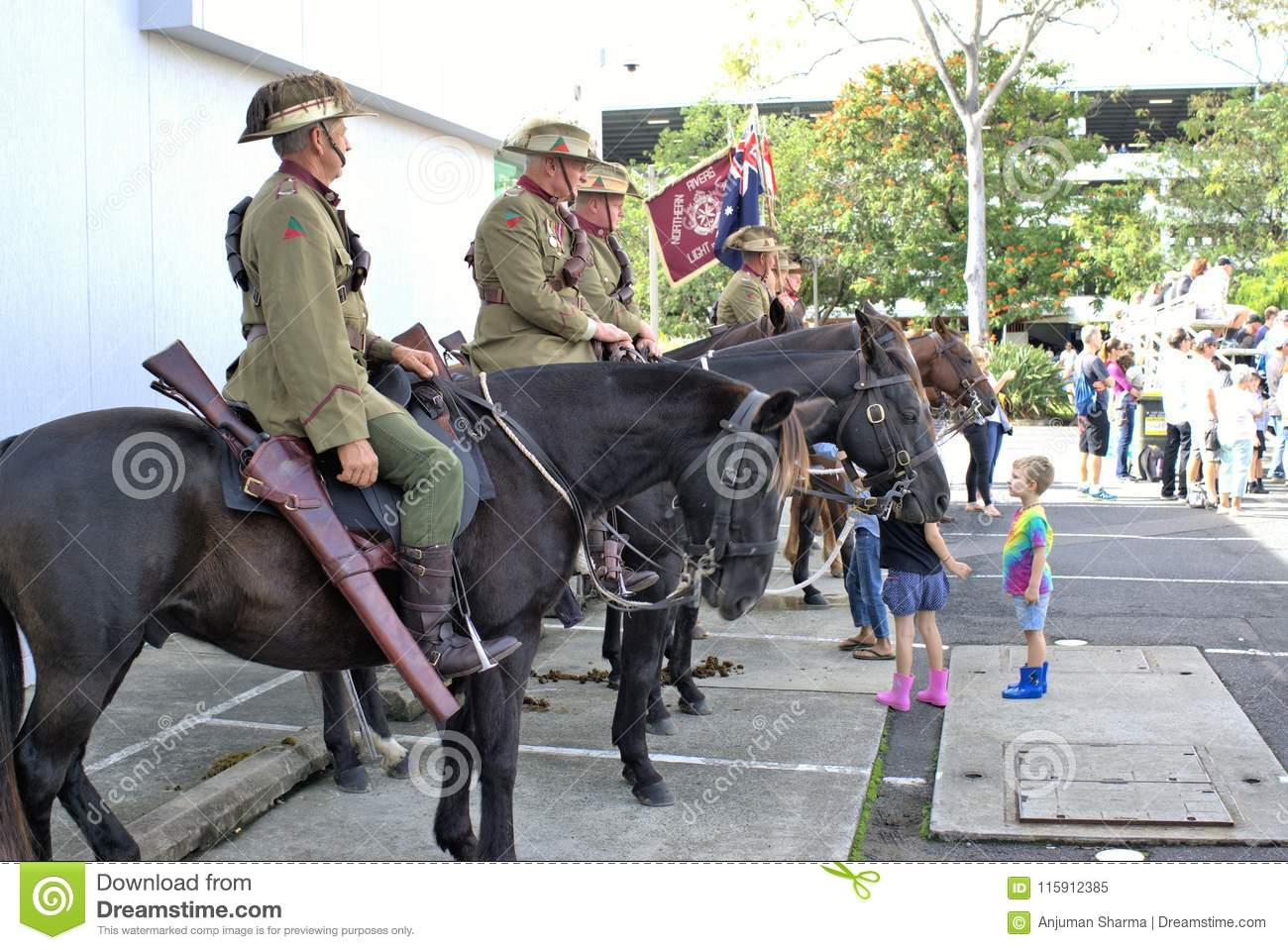 Cavalry or horsemen or lancers at ANZAC Day parade