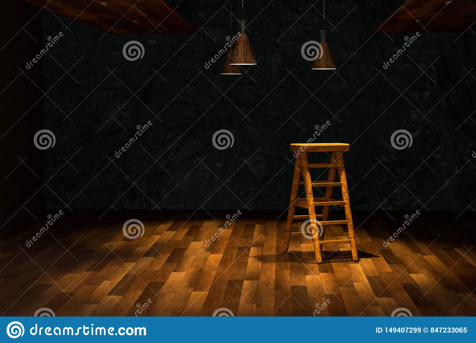 Wooden Cellar With Ladder And Ceiling Lamp Inside, Vintage