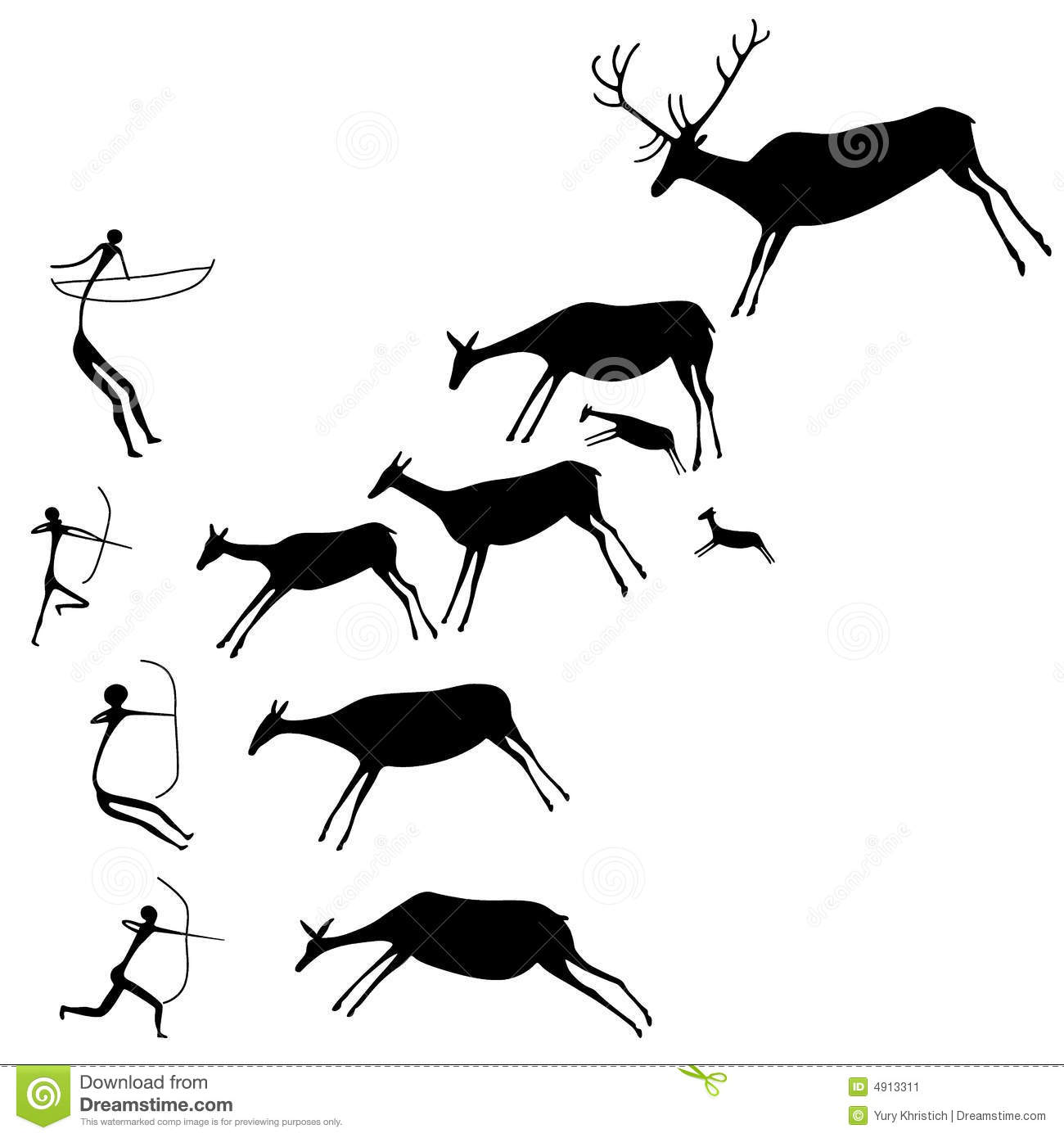 Cave painting. The hunters and deers. Late Stone Age. Vector ...