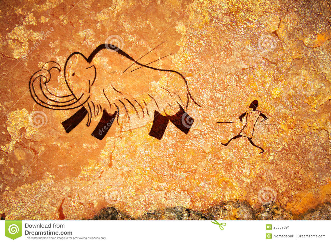Cave Painting Of Primitive Hunt Stock Image - Image: 25057391