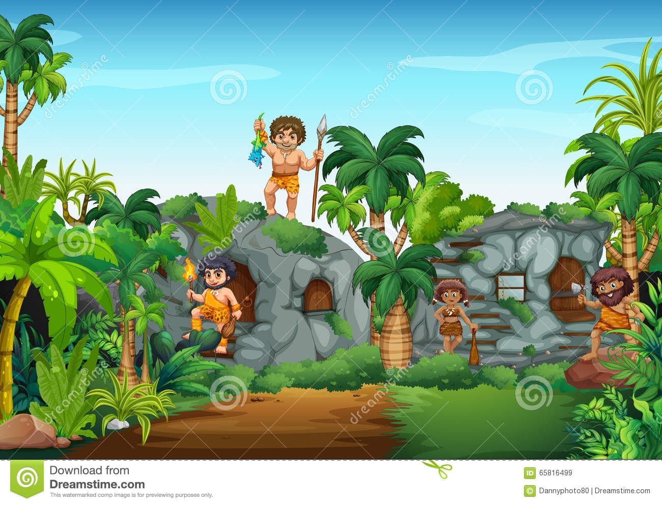 Cave People Living In The Forest Stock Vector Image