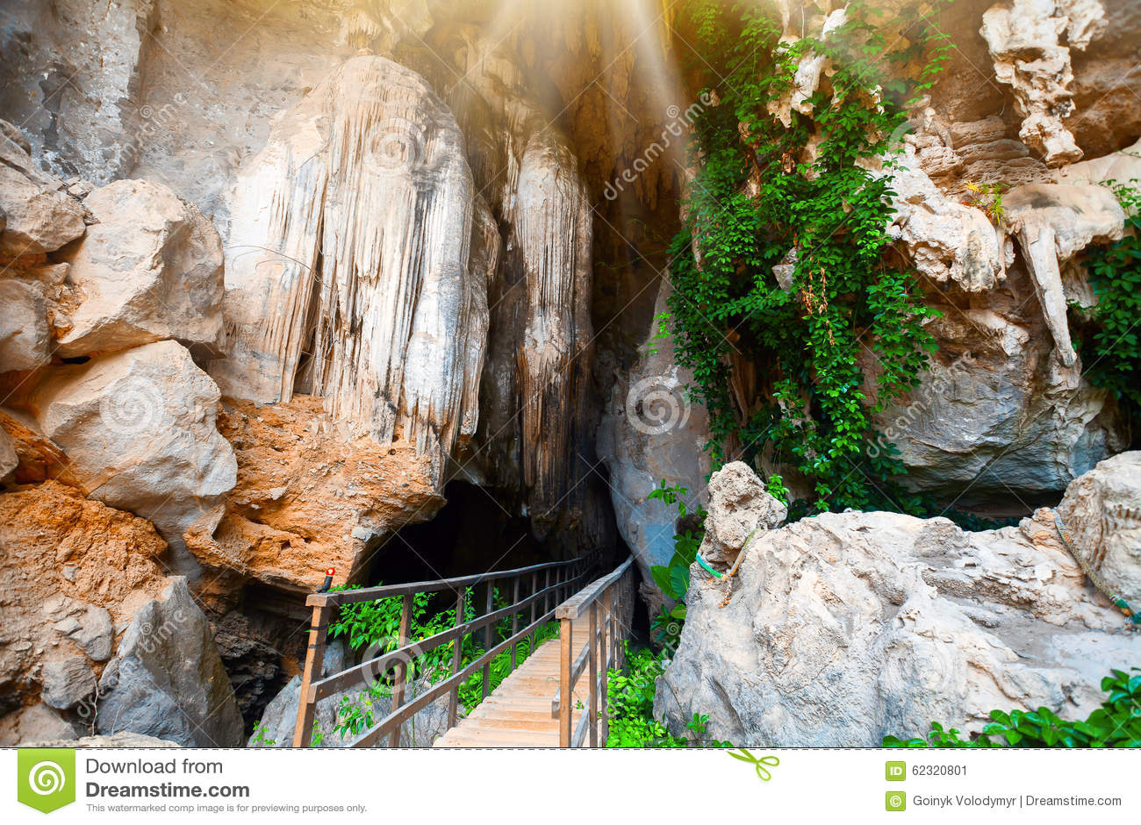 Cave stalactites and stalagmites