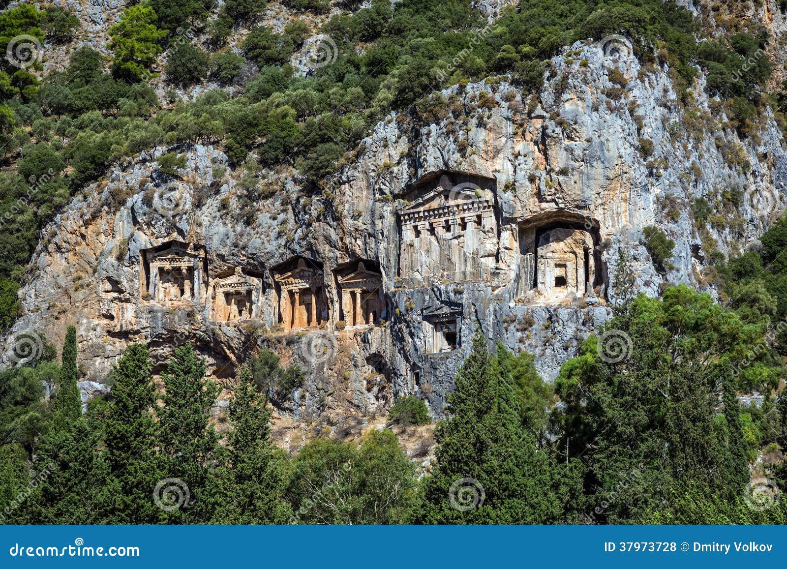 Dalyan Turkey  city images : Cave tombs of Kaunos near Dalyan, Turkey.