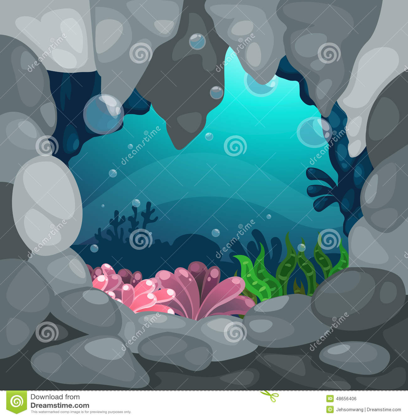 Stock Illustration Cave Under Sea Background Illustration Image4865640...