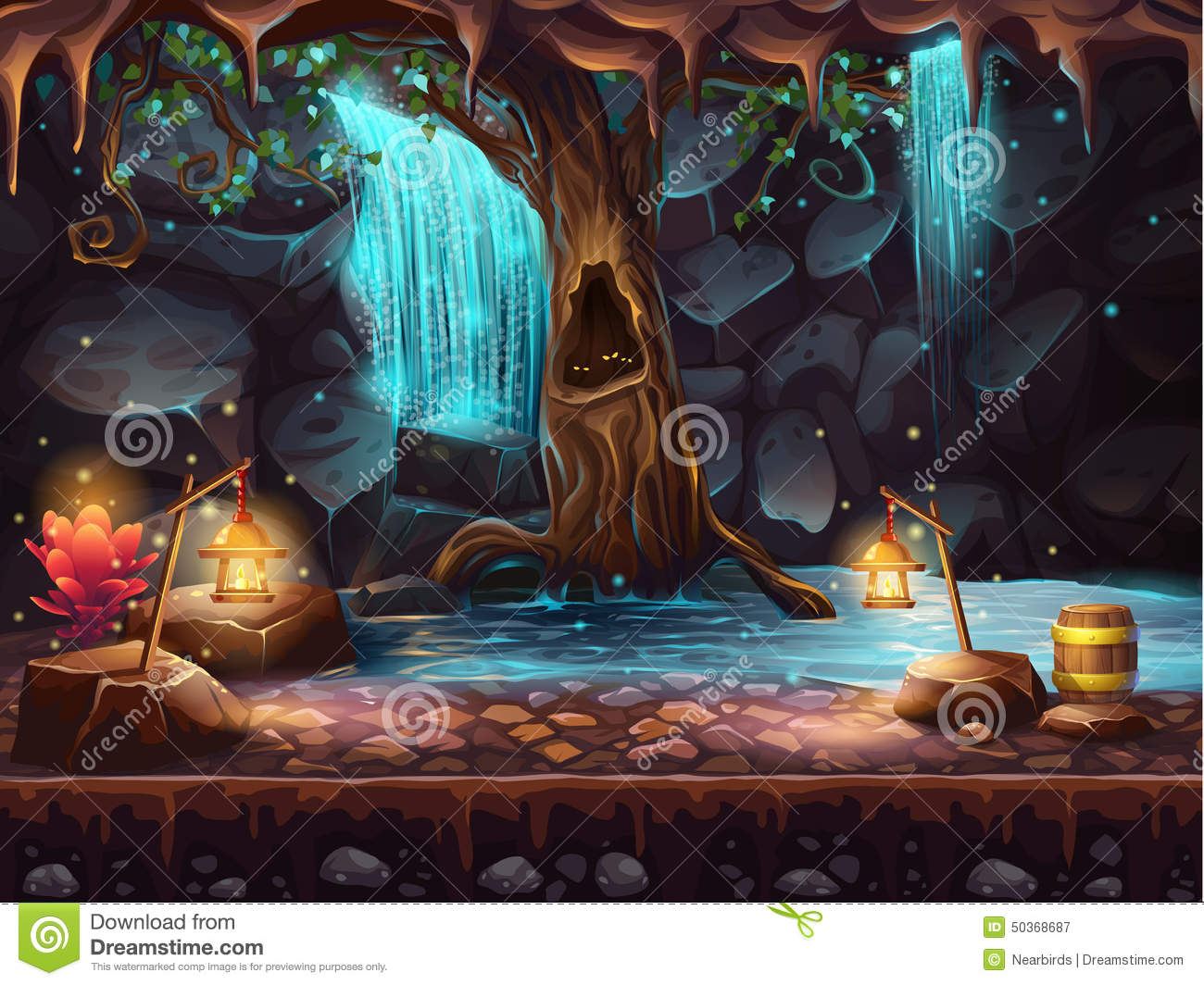Cave with a waterfall and a magic tree and barrel of gold